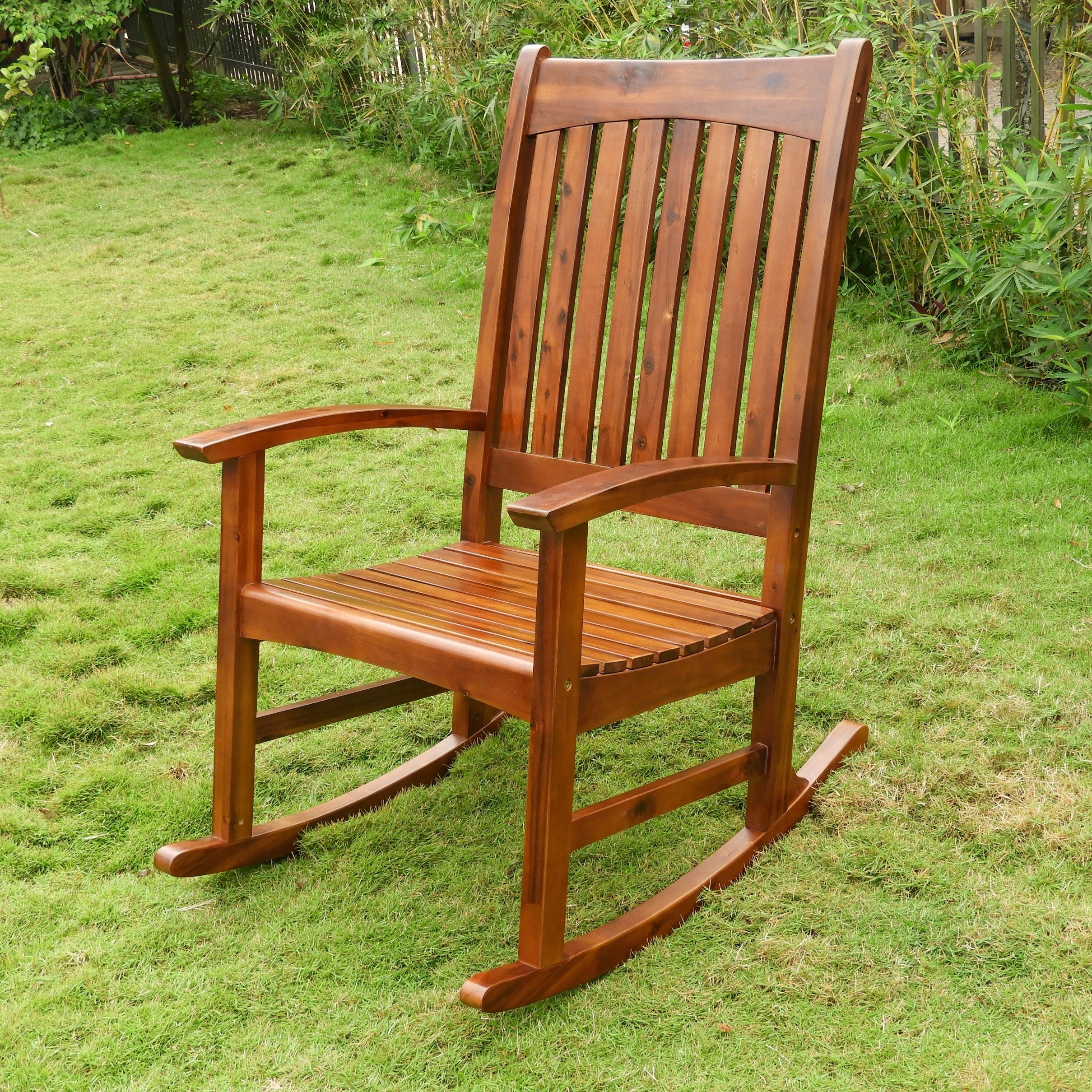 Inspiration about Details About International Caravan Highland Traditional Porch Rocker Brown  Single In Warm Brown Slat Back Rocking Chairs (#17 of 20)