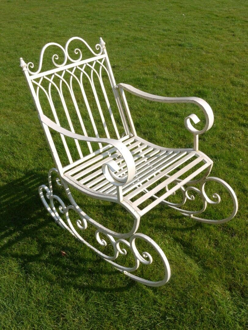Details About Metal Outdoor Garden Rocking Chair Vintage Style Antique  White Distressed Finish Inside Liverpool Classic Style Rocking Chairs In Antique Oak Finish (#11 of 20)