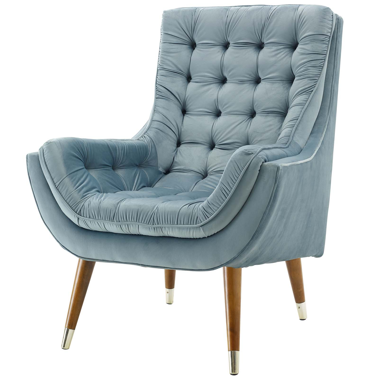 Inspiration about Details About Modern Contemporary Living Lounge Tufted Accent Chair,  Velvet, Light Blue, 15491 Intended For Velvet Tufted Accent Chairs (#15 of 20)