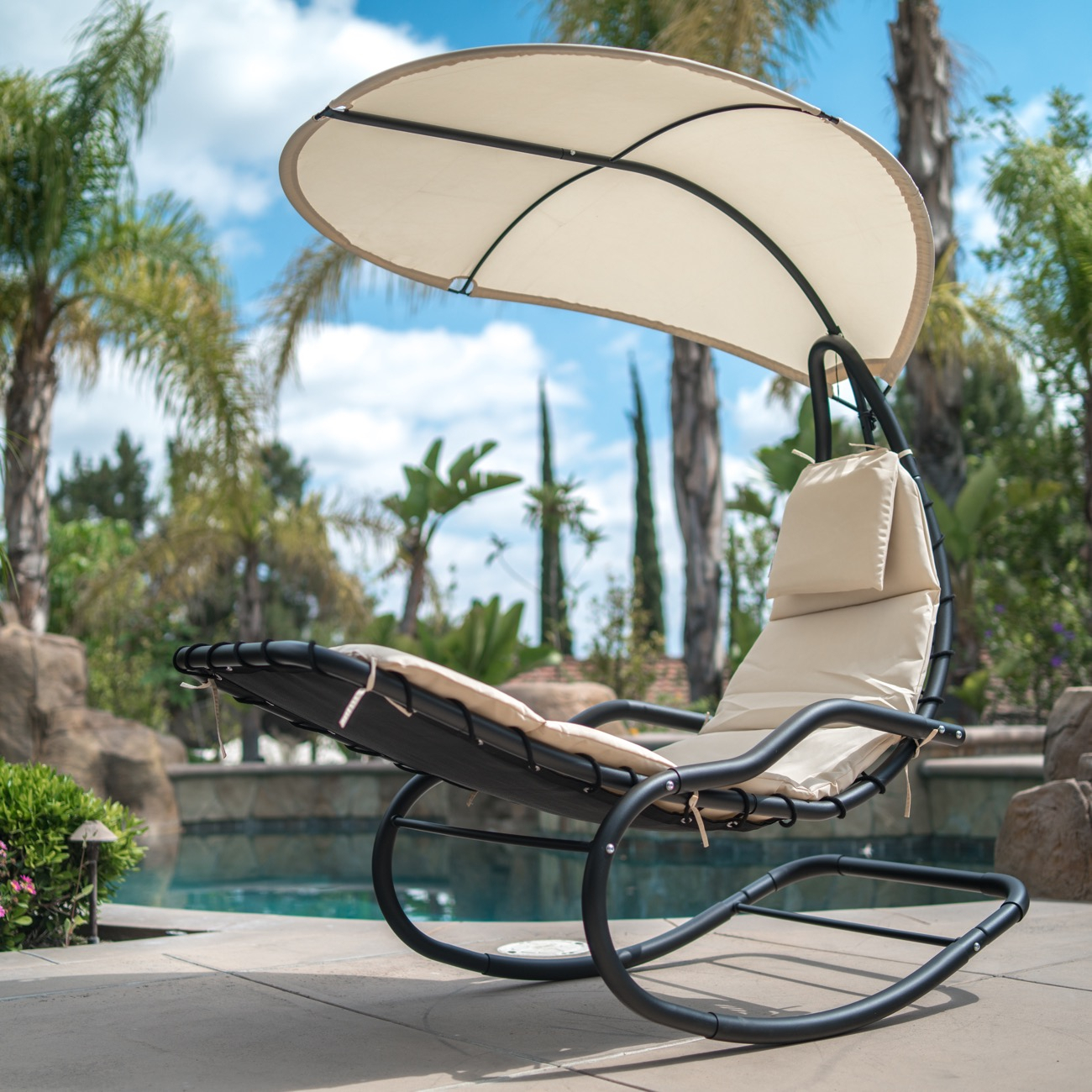 Inspiration about Details About Outdoor Rocking Chaise Lounge Chair Cushion W/canopy Shade Blue, Orange, White For Orange Rocking Chairs Lounge Chairs (#17 of 20)