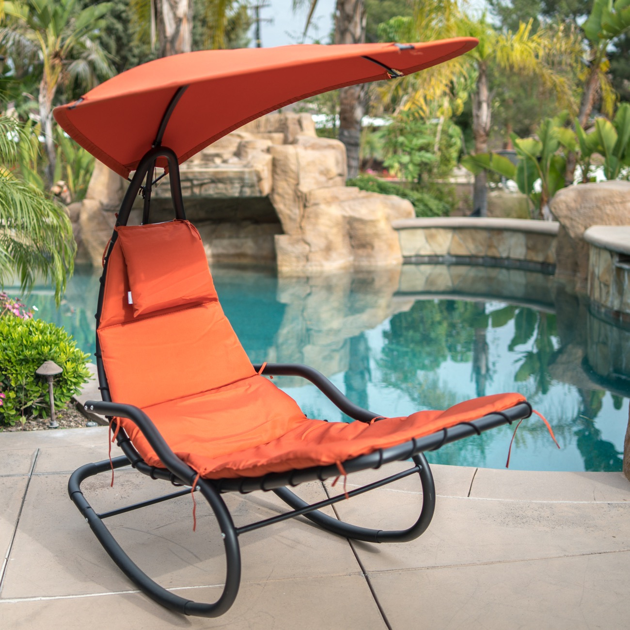 Inspiration about Details About Outdoor Rocking Lounge Chair Rocker Sunshade Umbrella Chaise  W/ Cushion, Orange Pertaining To Orange Rocking Chairs Lounge Chairs (#9 of 20)