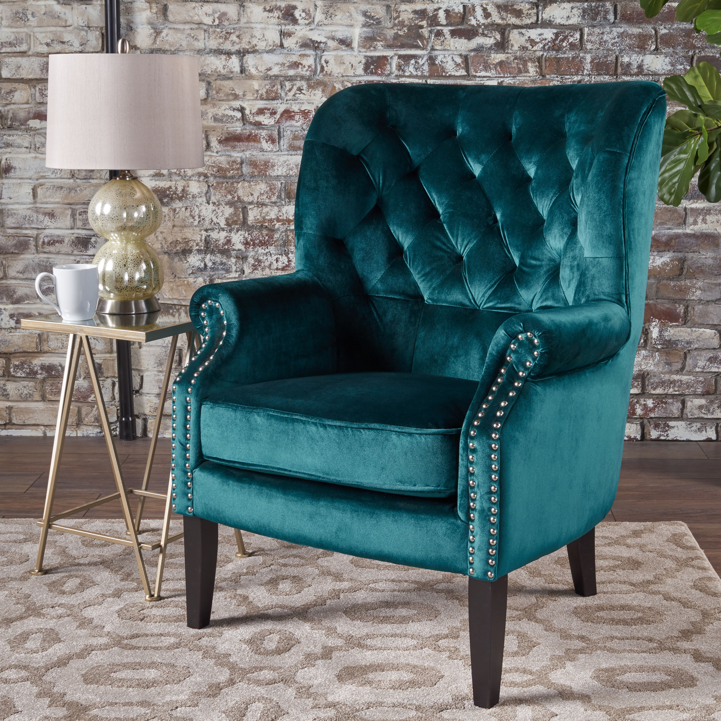 Inspiration about Details About Teal Velvet Trim Accent Chair Lounge Living Room Bedroom Club  Tufted Traditional In Velvet Tufted Accent Chairs (#9 of 20)