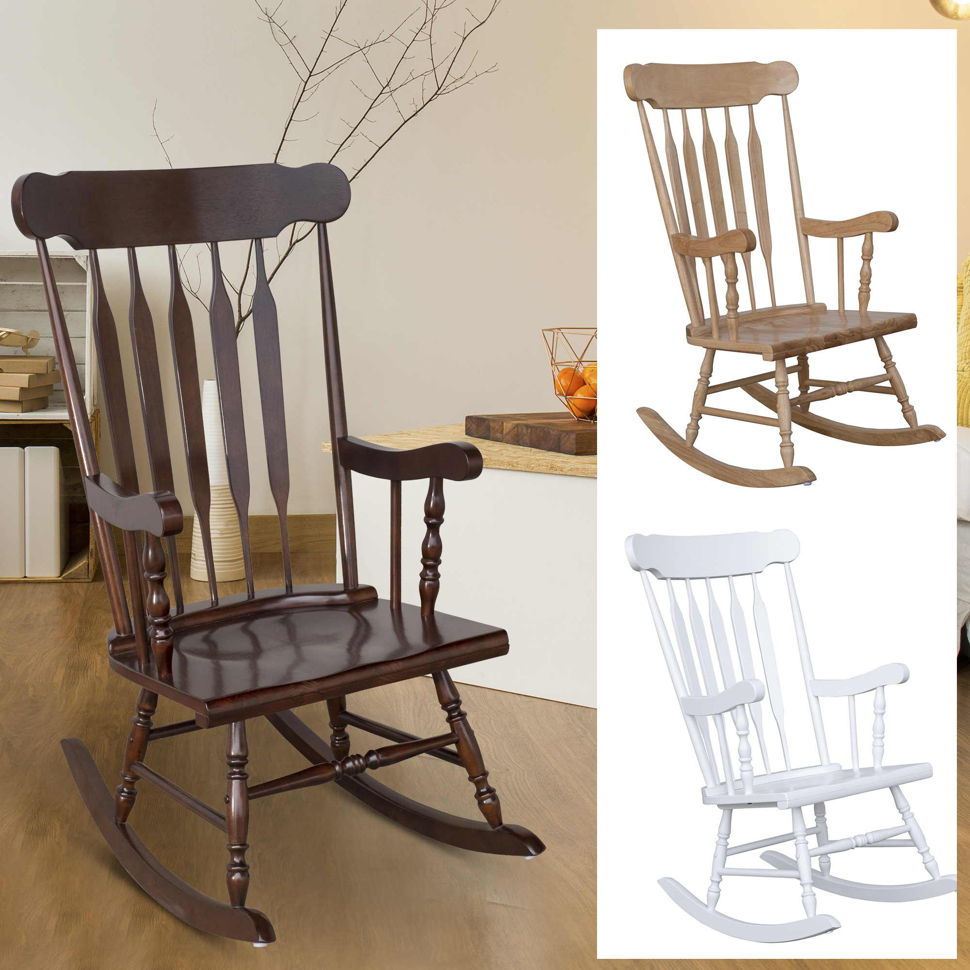 Inspiration about Details About Traditional Slat Wood Rocking Chair Indoor Porch Rocker Deck  Furniture Patio Within Traditional Style Wooden Rocking Chairs With Contoured Seat, Black (#17 of 20)