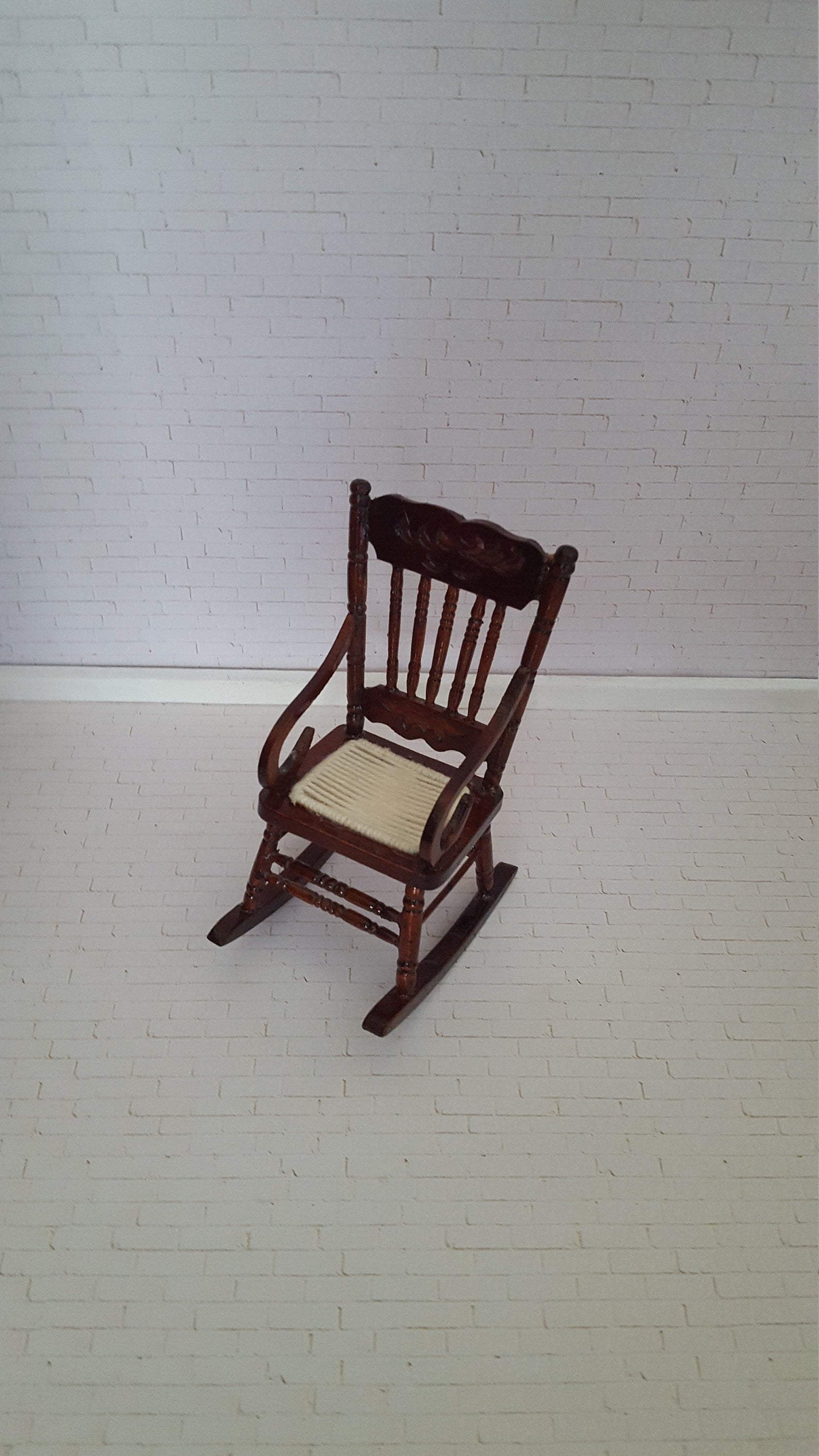 Dollhouse Rocker, Doll Rocker, 1 12 Rocking Chair, Doll Cherry Rocker With  Amazing Detail In Colonial Cherry Finish Rocking Chairs (#10 of 20)