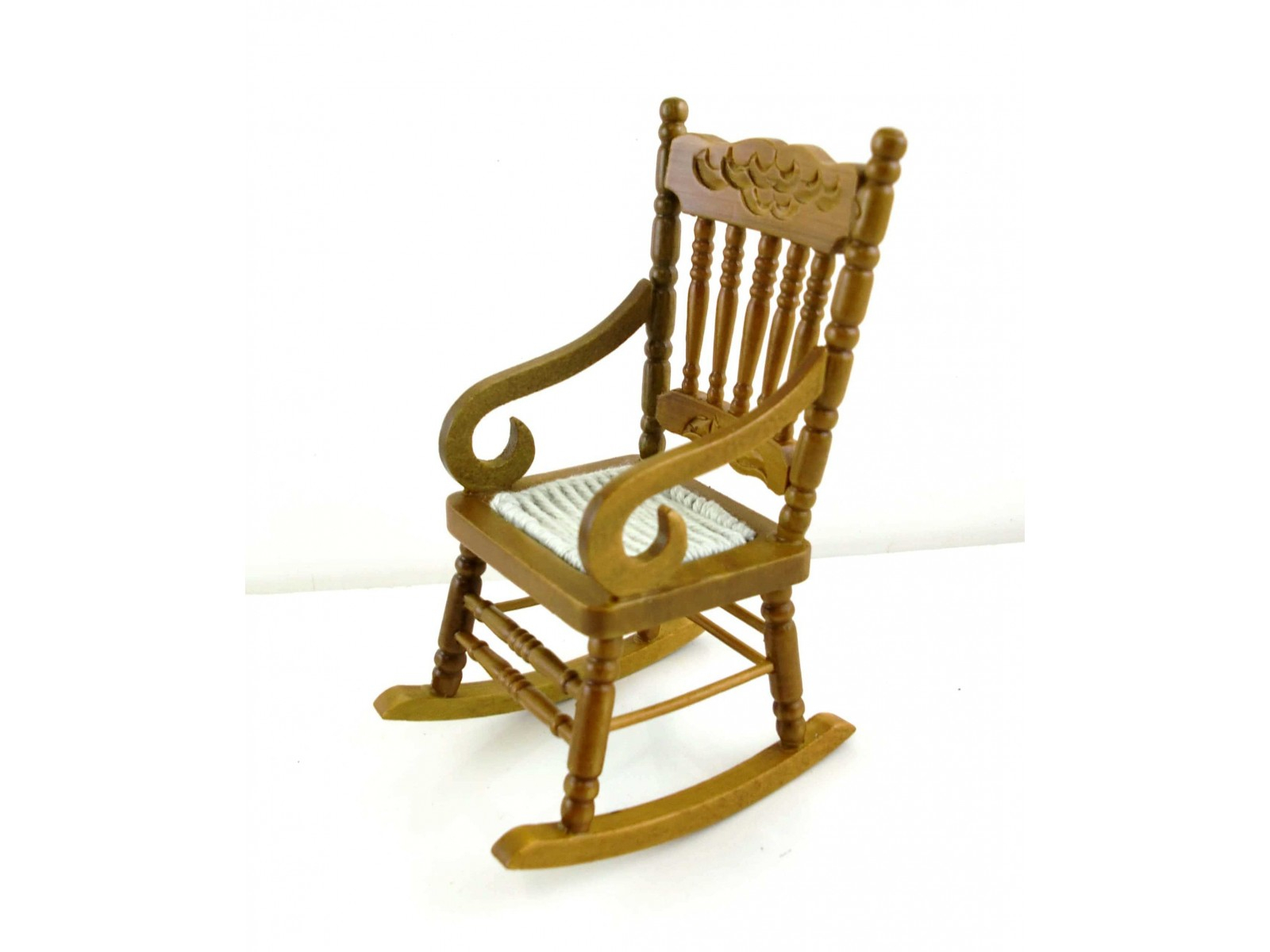 Inspiration about Dolls House Miniature Furniture Walnut Wood Rocking Chair With Woven Seat With Regard To Walnut Wood Rocking Chairs (#6 of 20)