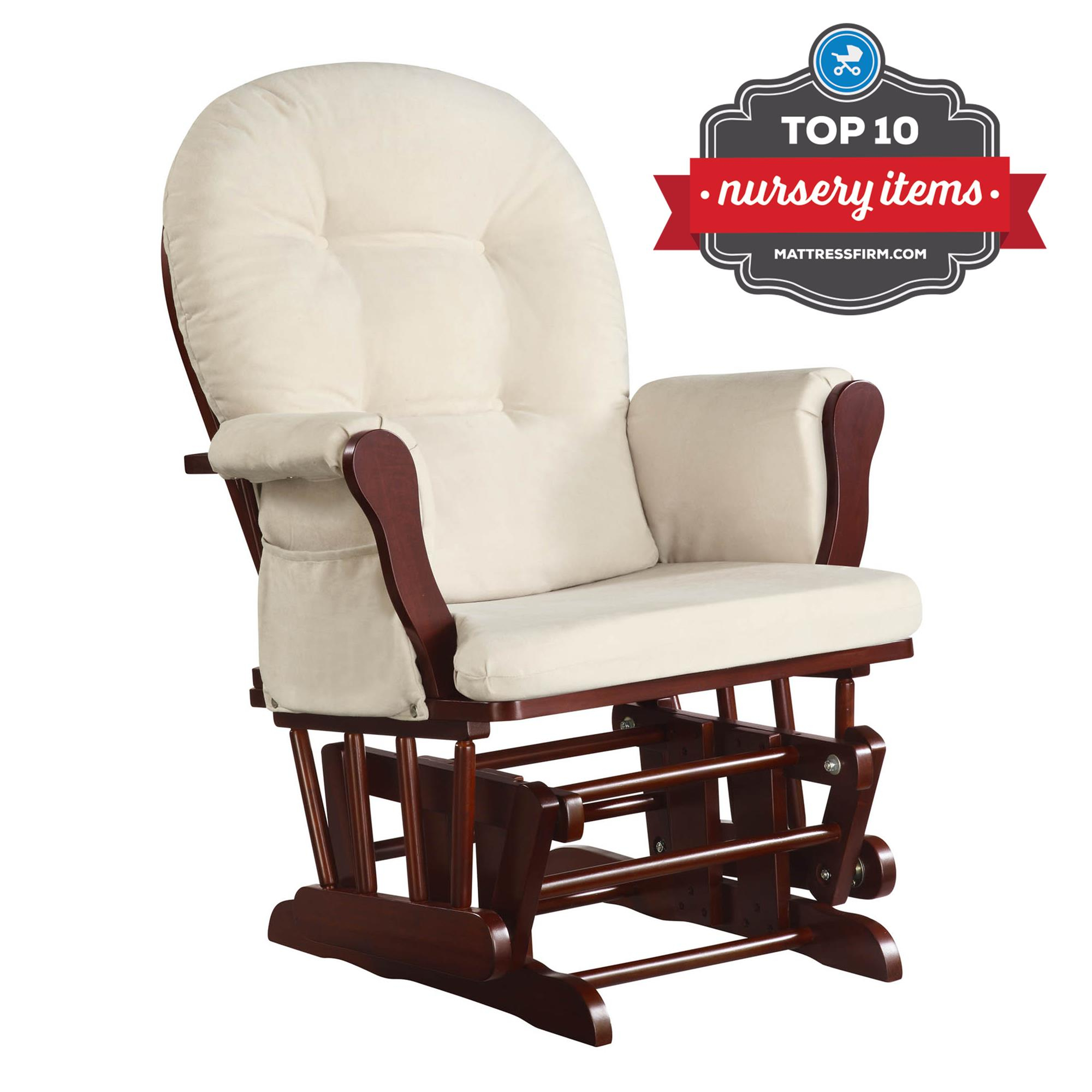 Dorel Living | Baby Relax Glider Rocker, Cherry Within Beige Fabric And Cherry Wood Rocking Chairs (View 19 of 20)