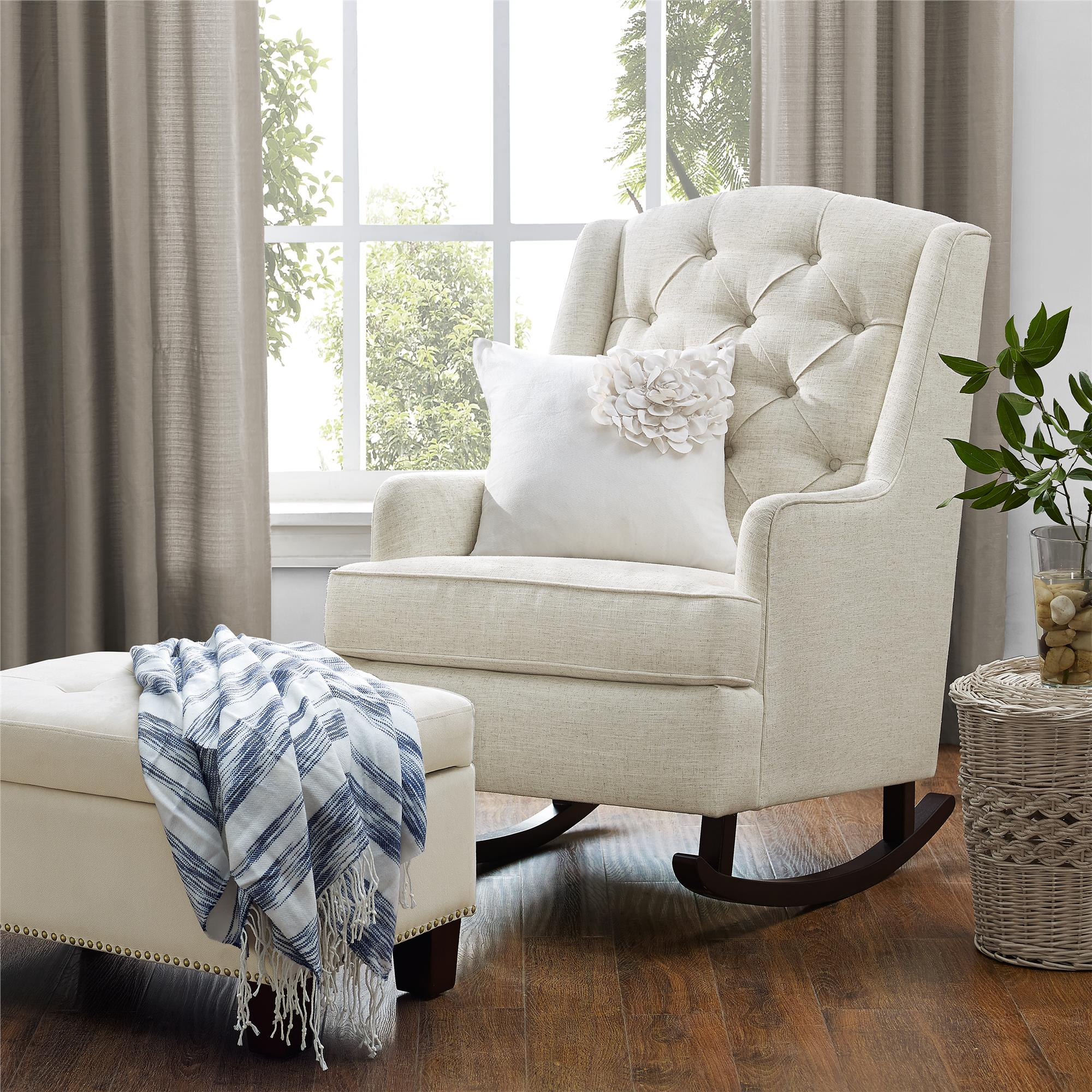 Inspiration about Dorel Living | Baby Relax Zoe Tufted Rocking Chair, Cream Pertaining To Rocking Chairs In Cream Fabric And White (#8 of 20)