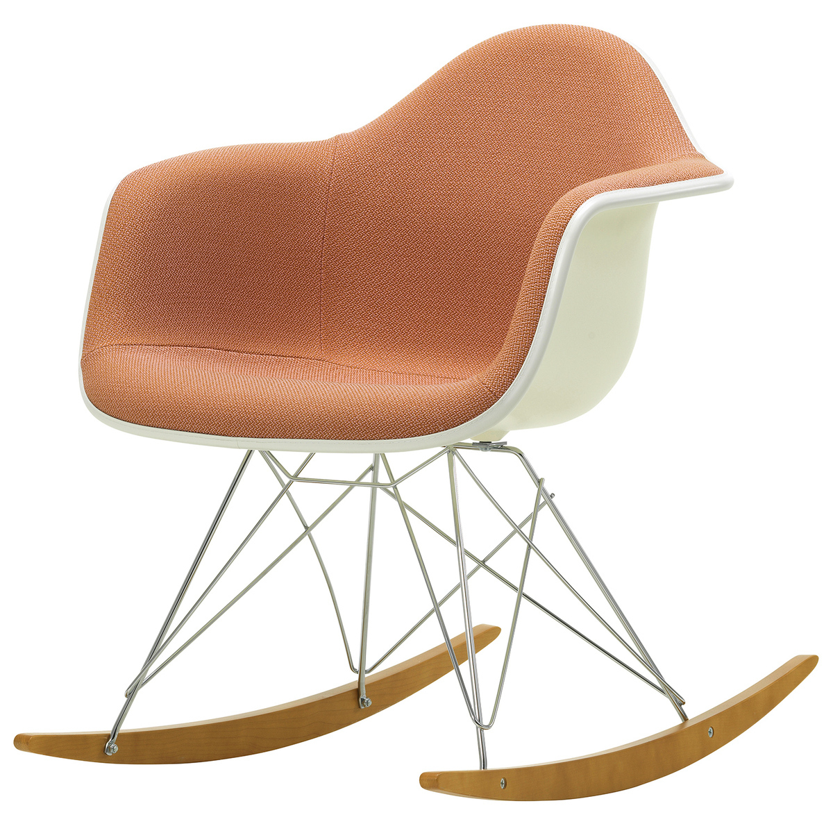 Eames Rar Rocking Chair, Upholstered, Pale Rose/cognac Intended For Wooden Rocking Chairs With Fabric Upholstered Cushions, White (View 7 of 20)