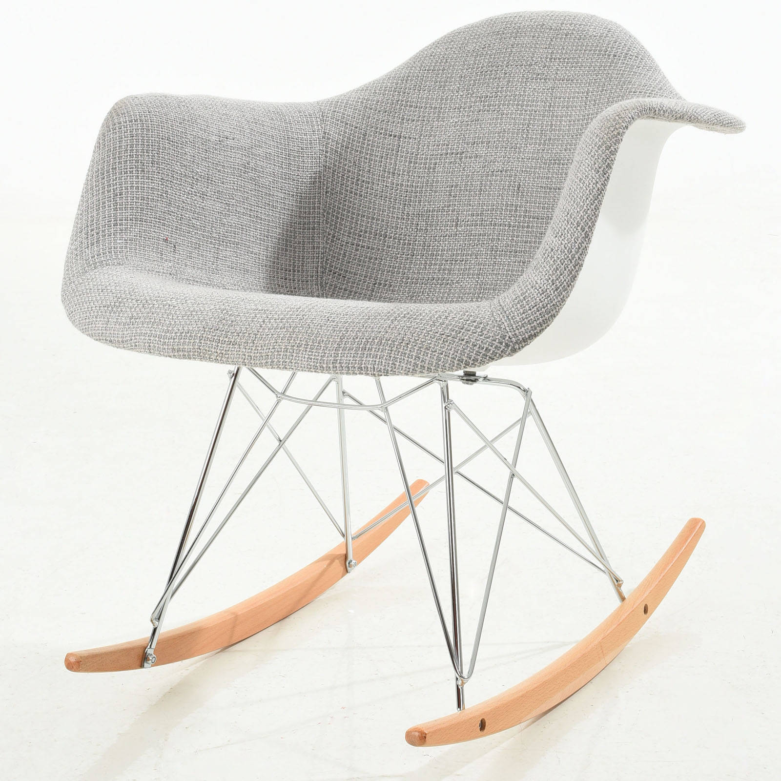 Edgemod Furniture Padded Light Grey Rocker Chair Regarding Padded Rocking Chairs (#9 of 20)