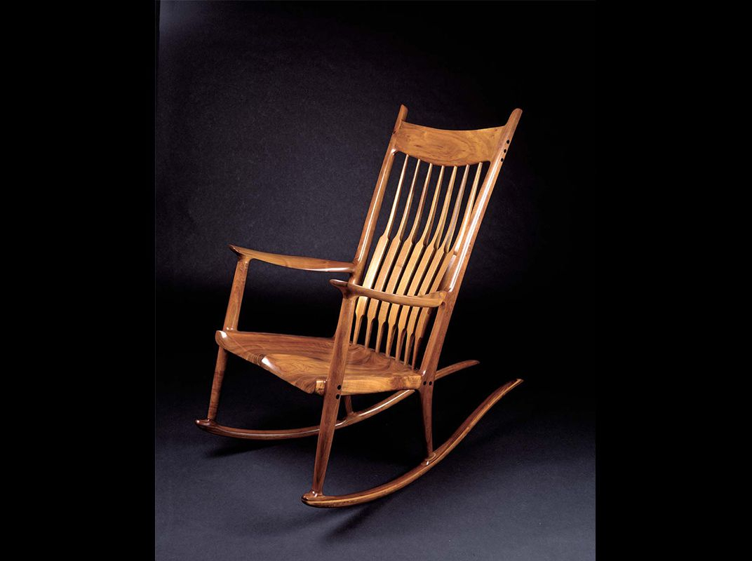 Famous For His Rocking Chair, Sam Maloof Made Furniture That For Dark Walnut Brown Wooden Rocking Chairs (#9 of 20)