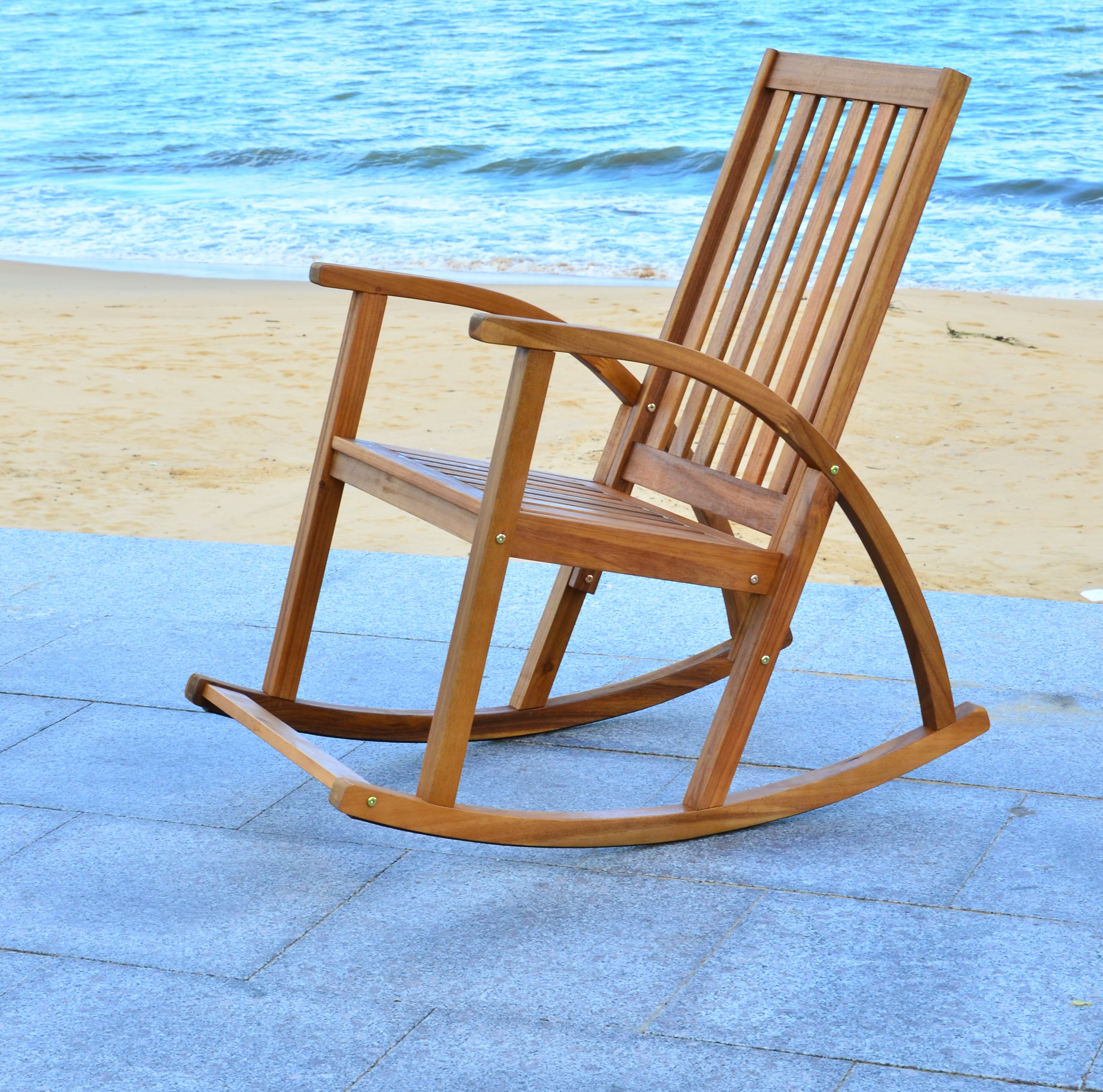Farmhouse & Rustic Outdoor Rockers & Gliders | Birch Lane Intended For Brown Wood Youth Rocking Chairs (#11 of 20)