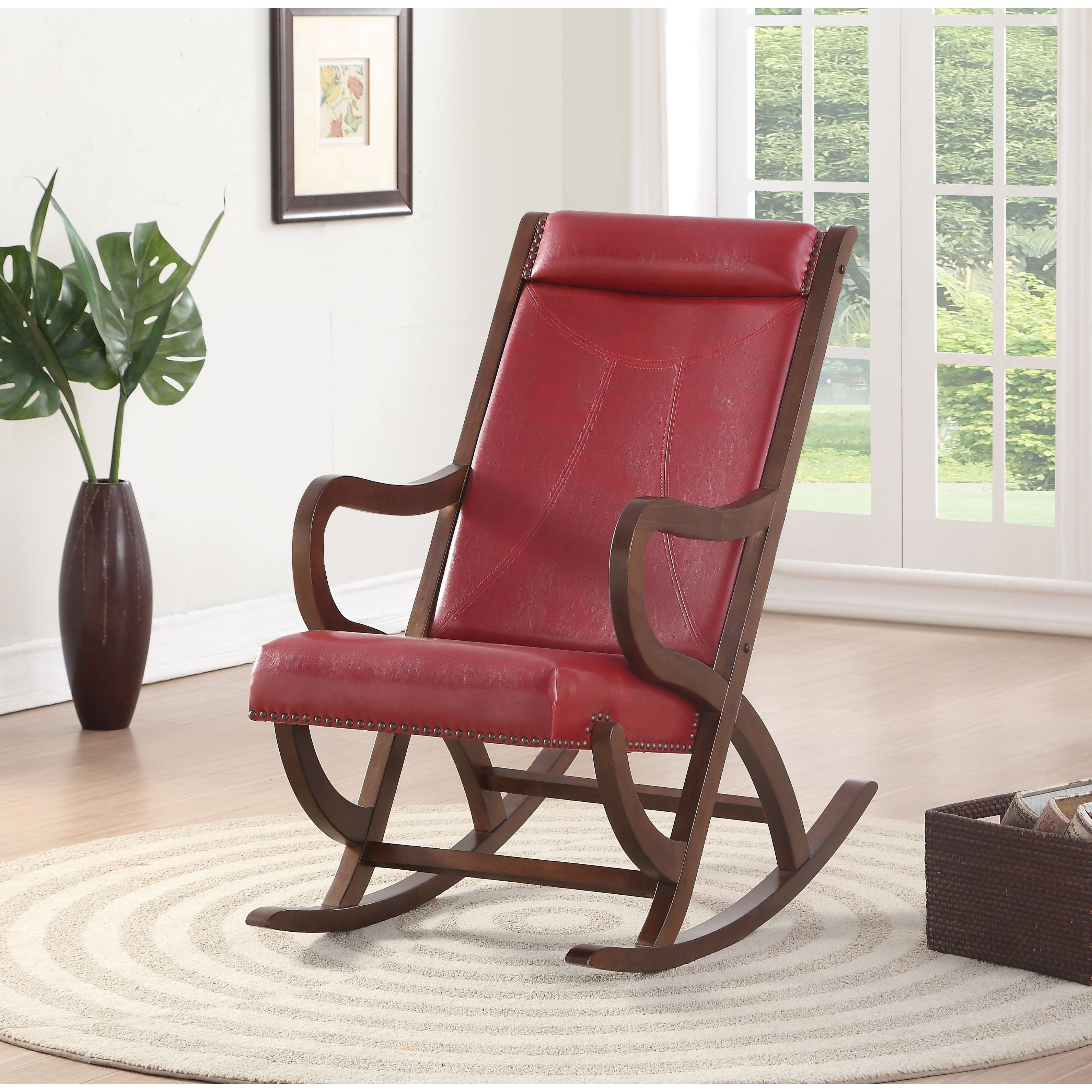Popular Photo of Faux Leather Upholstered Wooden Rocking Chairs With Looped Arms, Brown And Red