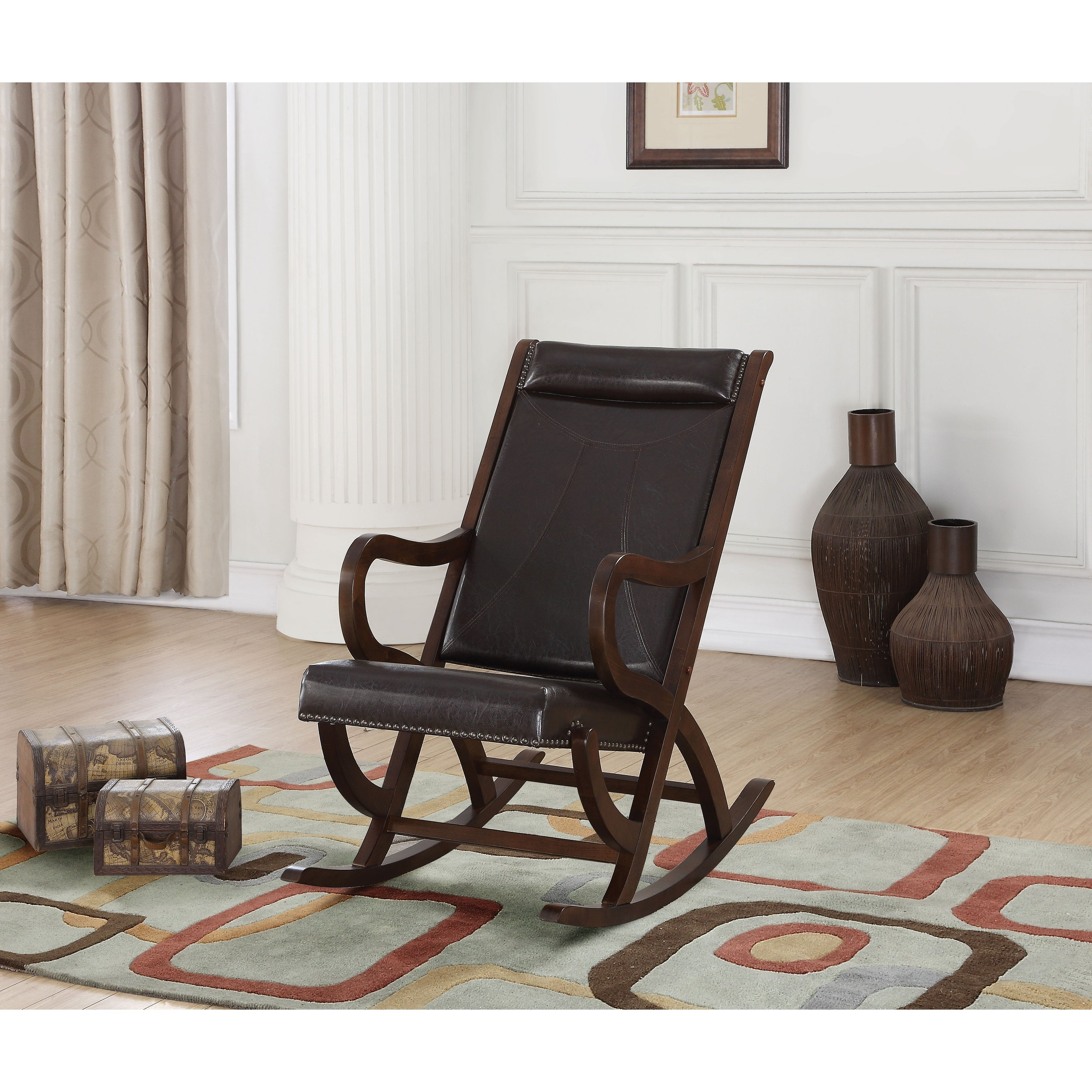 Faux Leather Upholstered Wooden Rocking Chair With Looped Arms, Brown Intended For Faux Leather Upholstered Wooden Rocking Chairs With Looped Arms, Brown And Red (#5 of 20)