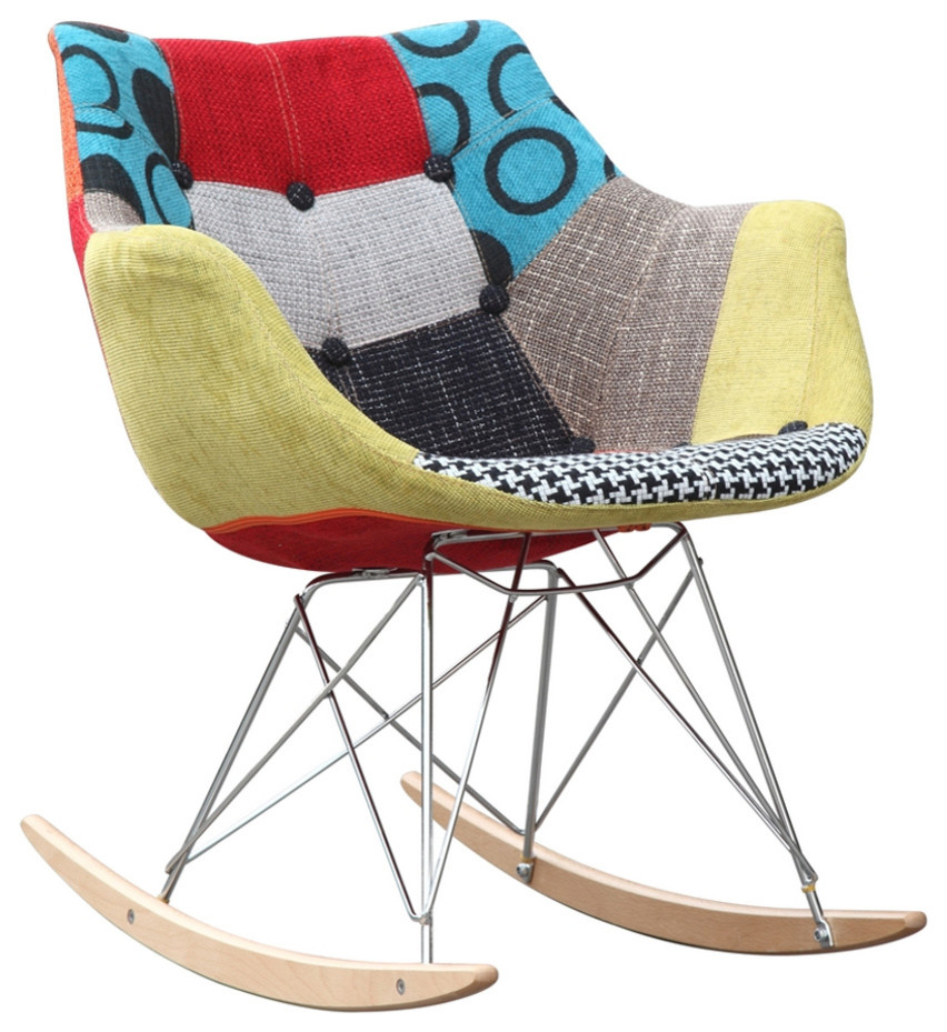 Fine Mod Imports Ginger Rocker Arm Chair Throughout Twill Fabric Multi Rocking Chairs With Eiffel Legs (#3 of 20)