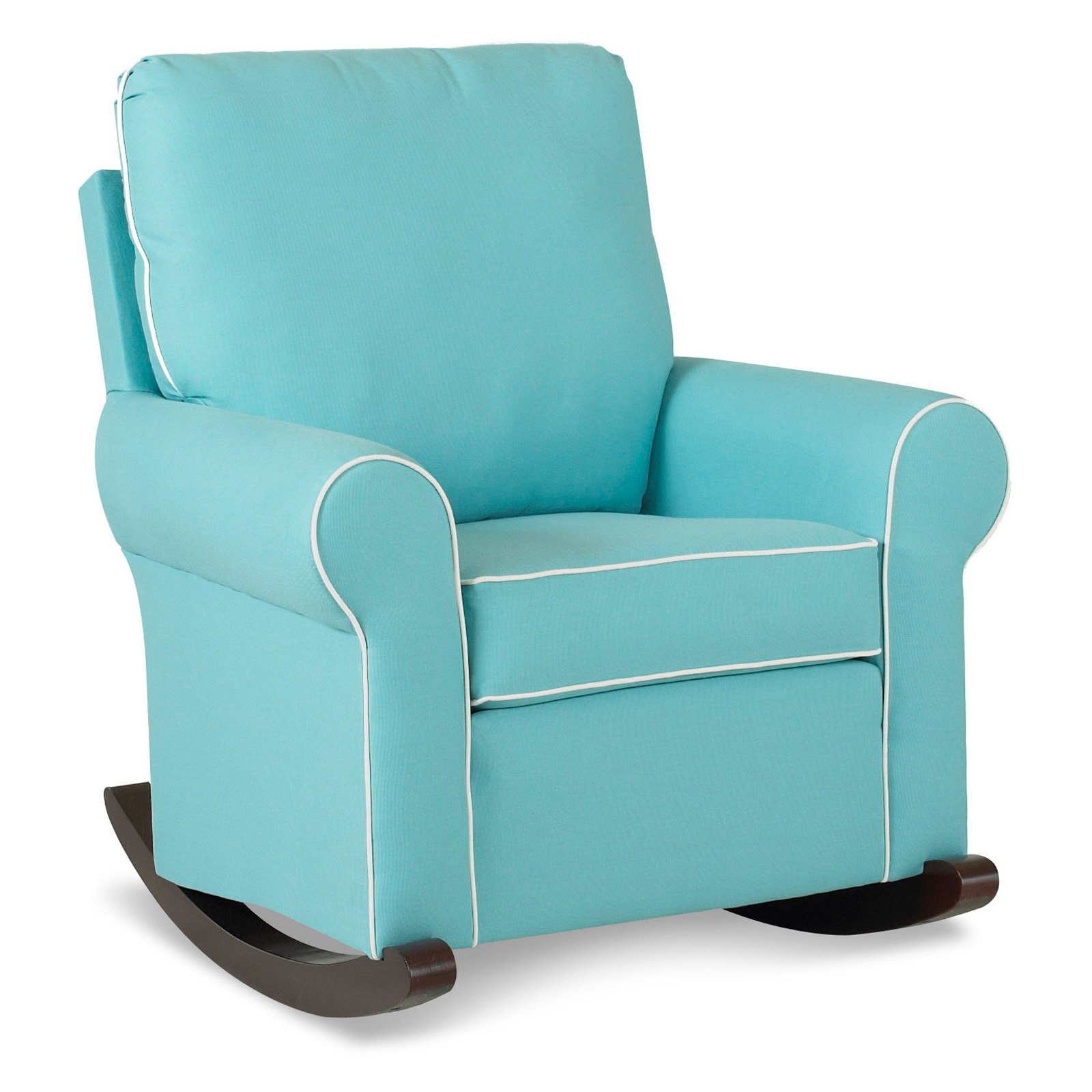 Furniture: Beautiful Upholstered Rocking Chair For Home In Modern Blue Fabric Rocking Arm Chairs (View 15 of 20)