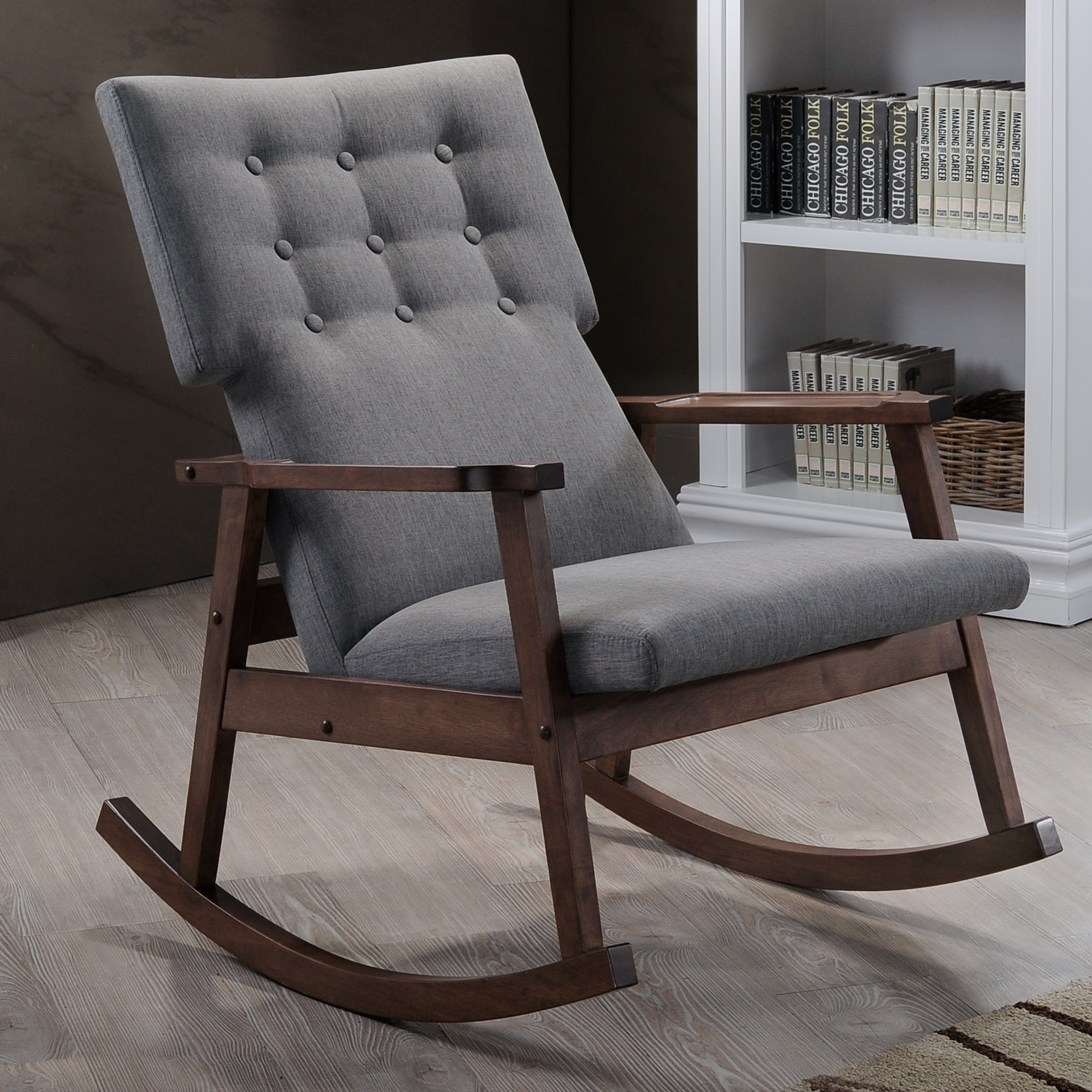 Furniture: Beautiful Upholstered Rocking Chair For Home Inside Rocking Chairs Arm Chairs For Living And Nursery Room (View 7 of 20)