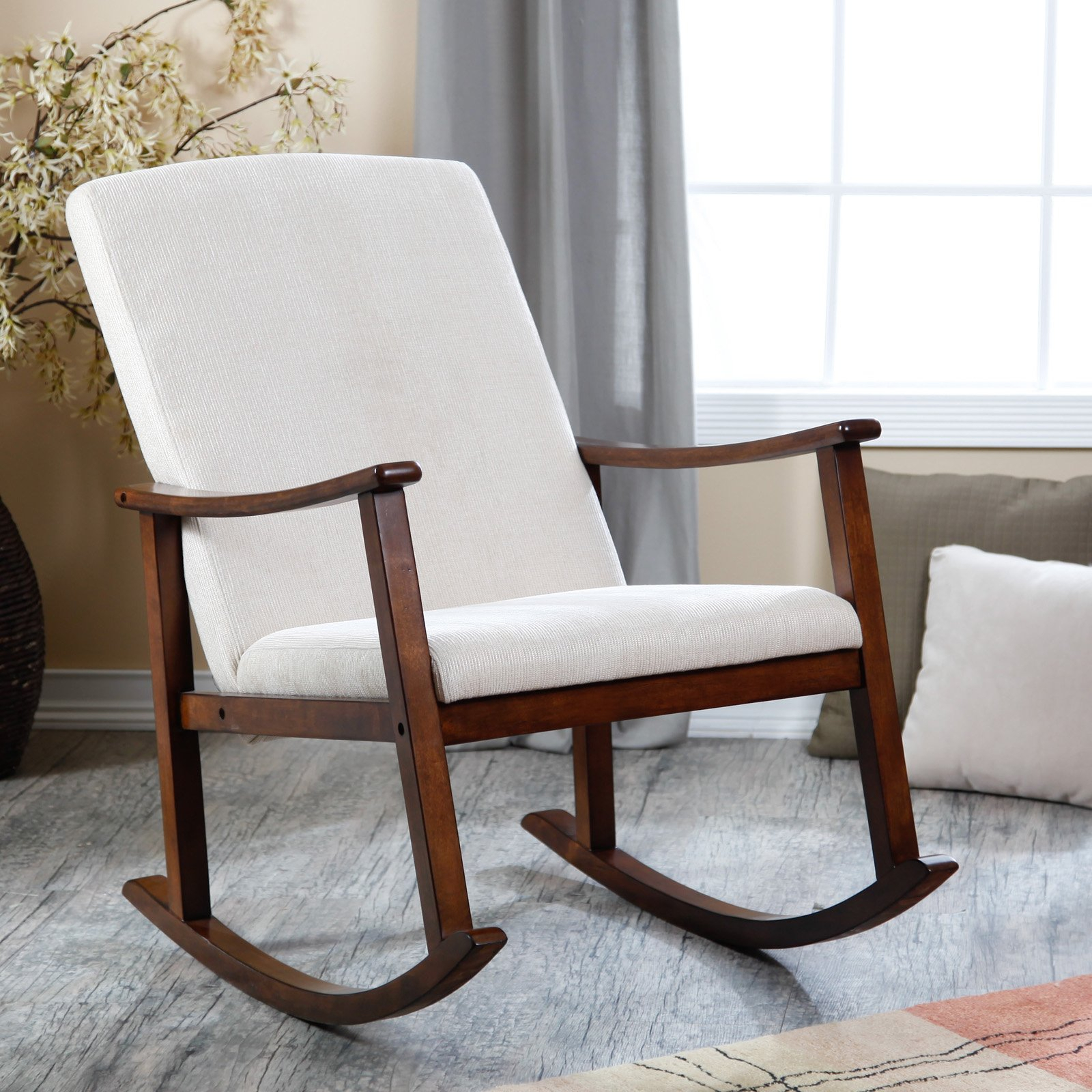 Furniture: Interesting Lowes Rocking Chairs For Home Within Wooden Rocking Chairs With Fabric Upholstered Cushions, White (View 9 of 20)