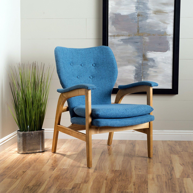 Furniture Mid Century Modern Fabric Arm Chair Blue Finish Regarding Modern Blue Fabric Rocking Arm Chairs (View 6 of 20)