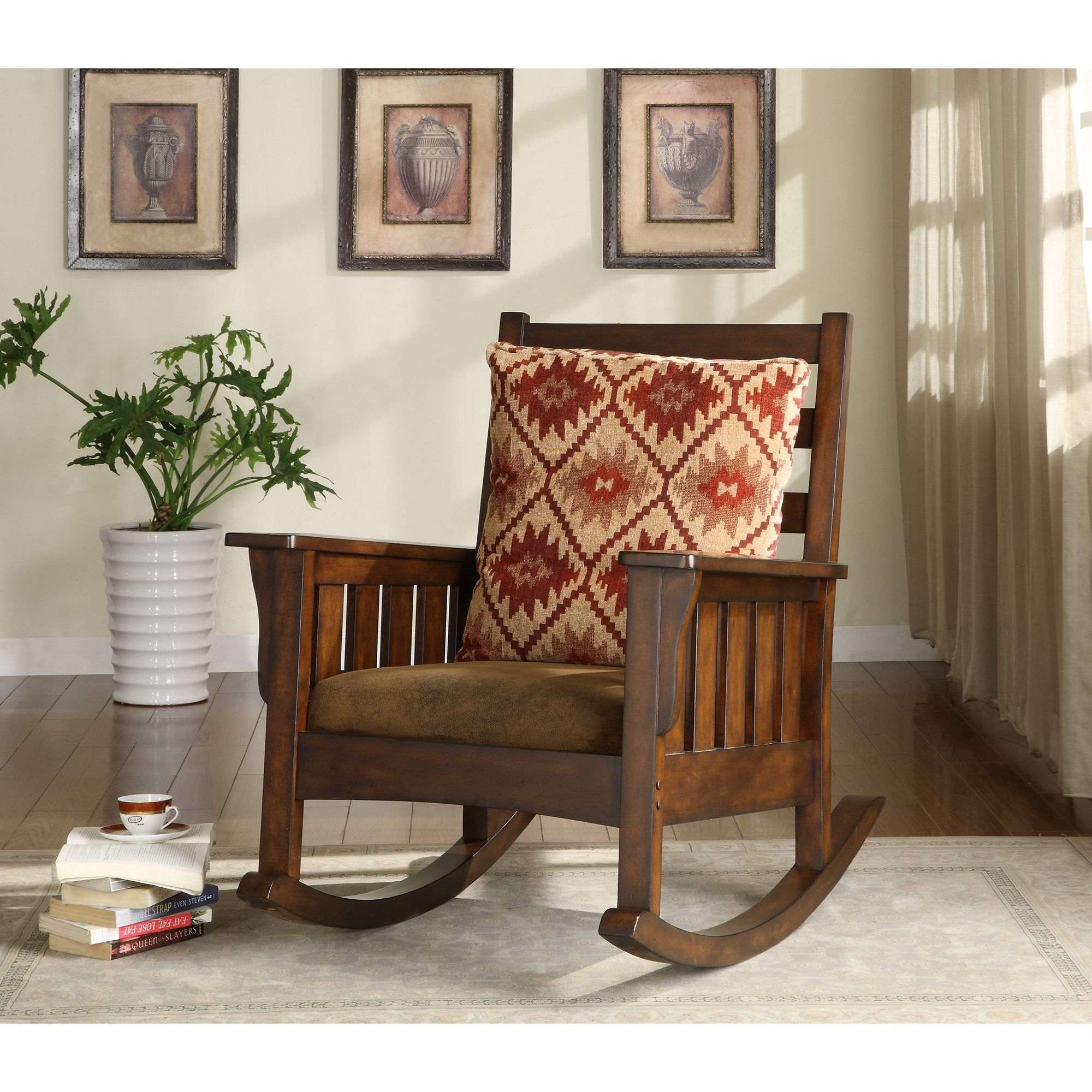 Popular Photo of Rosewood Traditional Dark Oak Rocking Accent Chairs