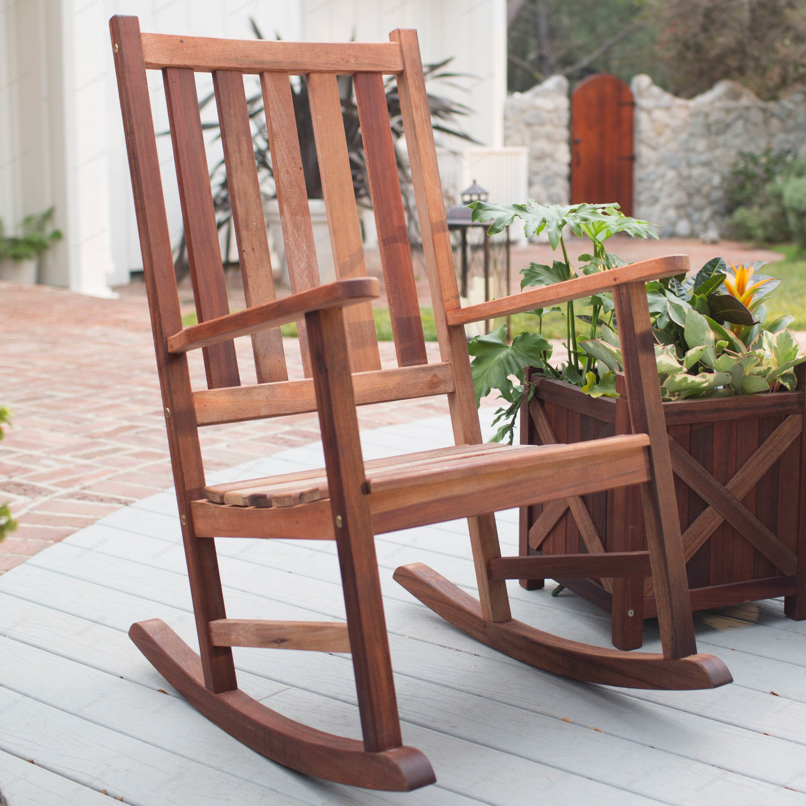 Furniture: Rustic Lowes Rocking Chairs With Outdoor Potted Pertaining To Traditional Wooden Porch Rocking Chairs (#7 of 20)
