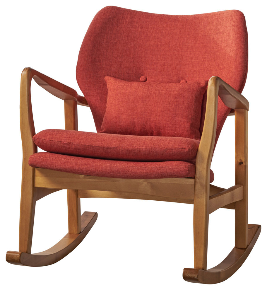 Gdf Studio Balen Mid Century Modern Fabric Rocking Chair, Muted Orange Intended For Mid Century Fabric Rocking Chairs (#9 of 20)