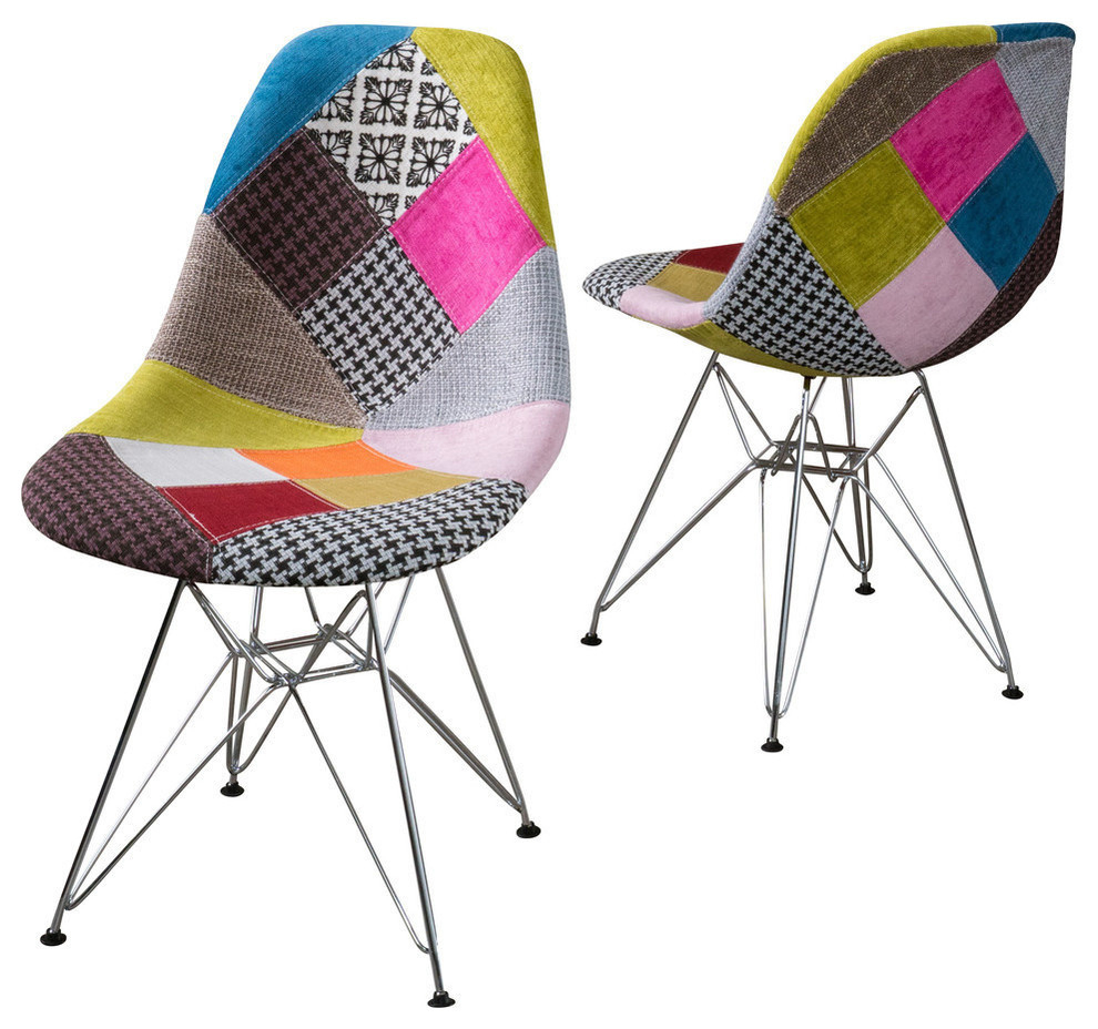Inspiration about Gdf Studio Cassius Multi Color Patchwork Fabric Chairs, Set Of 2 With Regard To Poly And Bark Patchwork Rocking Chairs (#18 of 20)