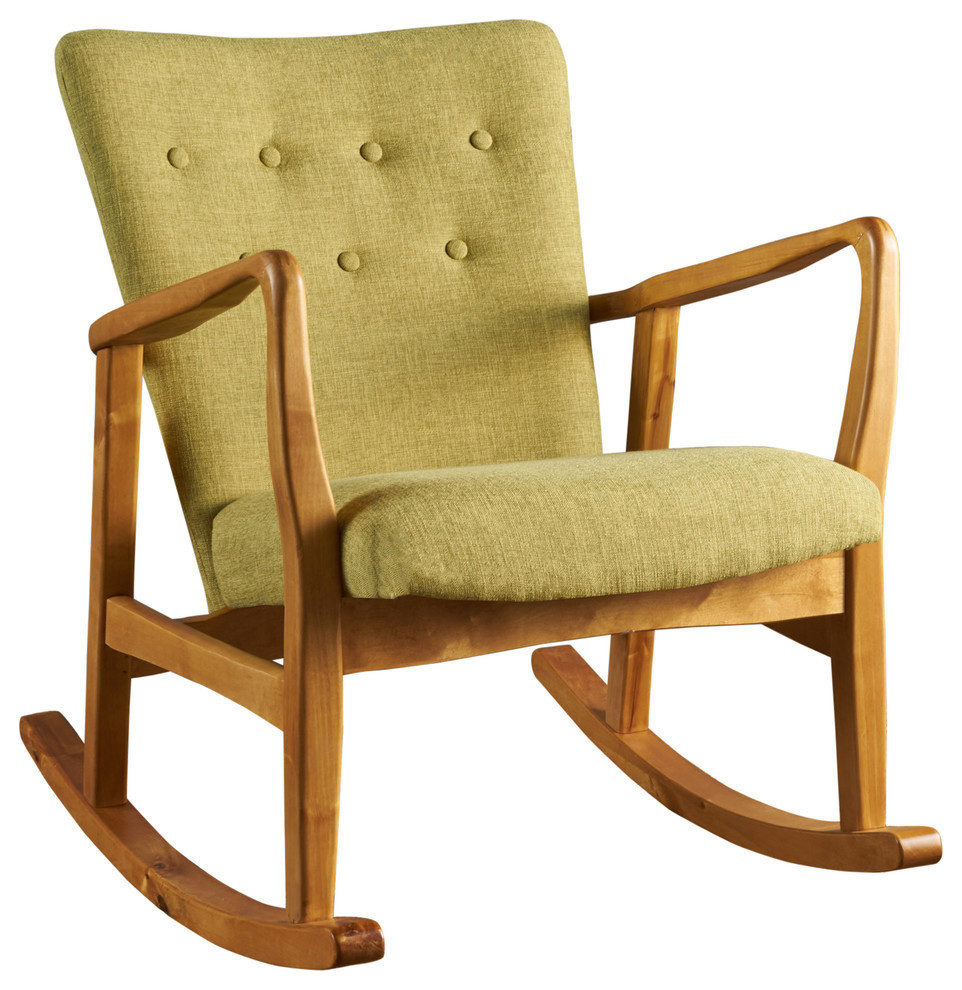 Gdf Studio Connor Mid Century Muted Green Fabric Rocking Chair With Regard To Beige Fabric And Cherry Wood Rocking Chairs (View 5 of 20)