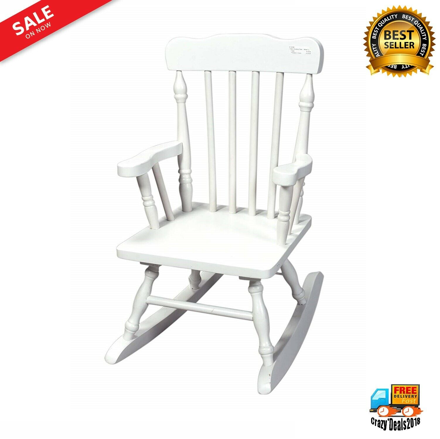 Gift Mark Child's Colonial Rocking Chair, White Pertaining To Colonial Cherry Finish Rocking Chairs (#11 of 20)