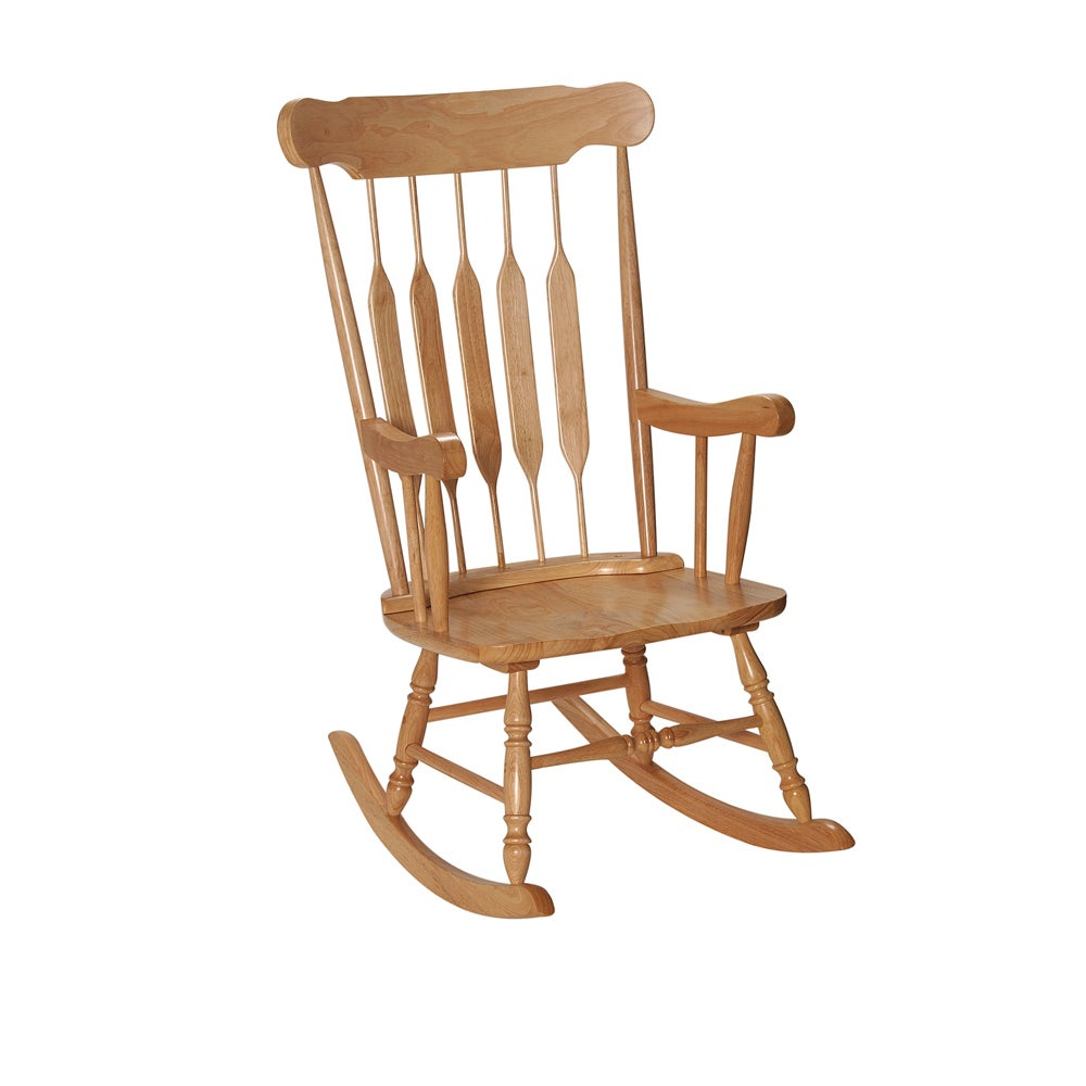 Gift Mark Home Adult Resting Natural Finish Rocking Chair Pertaining To Colonial Cherry Finish Rocking Chairs (#12 of 20)
