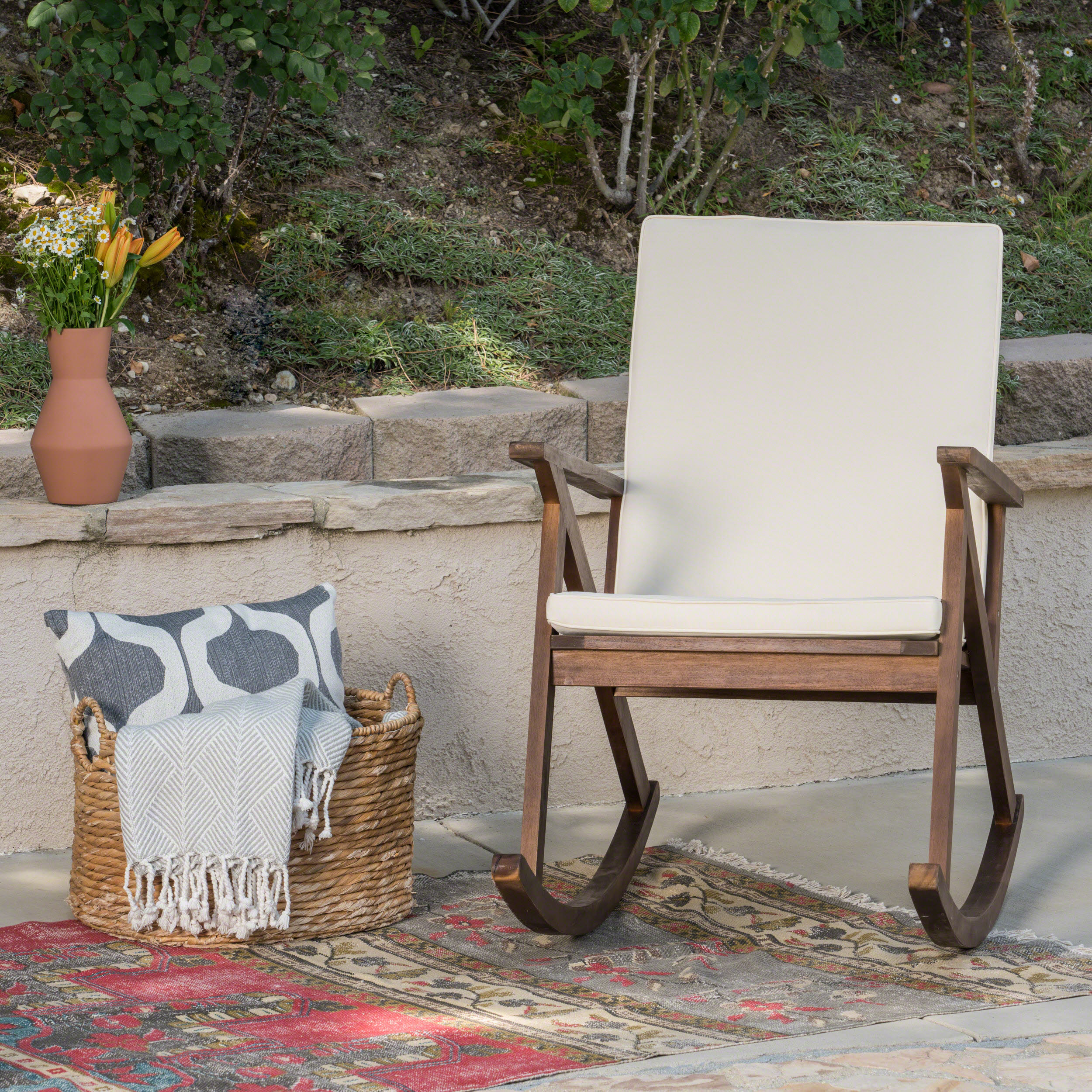 Giovanni Outdoor Acacia Wood Rocking Chair With Cushion, Dark Brown, Cream Within Rocking Chairs, Cream And Brown (View 3 of 20)