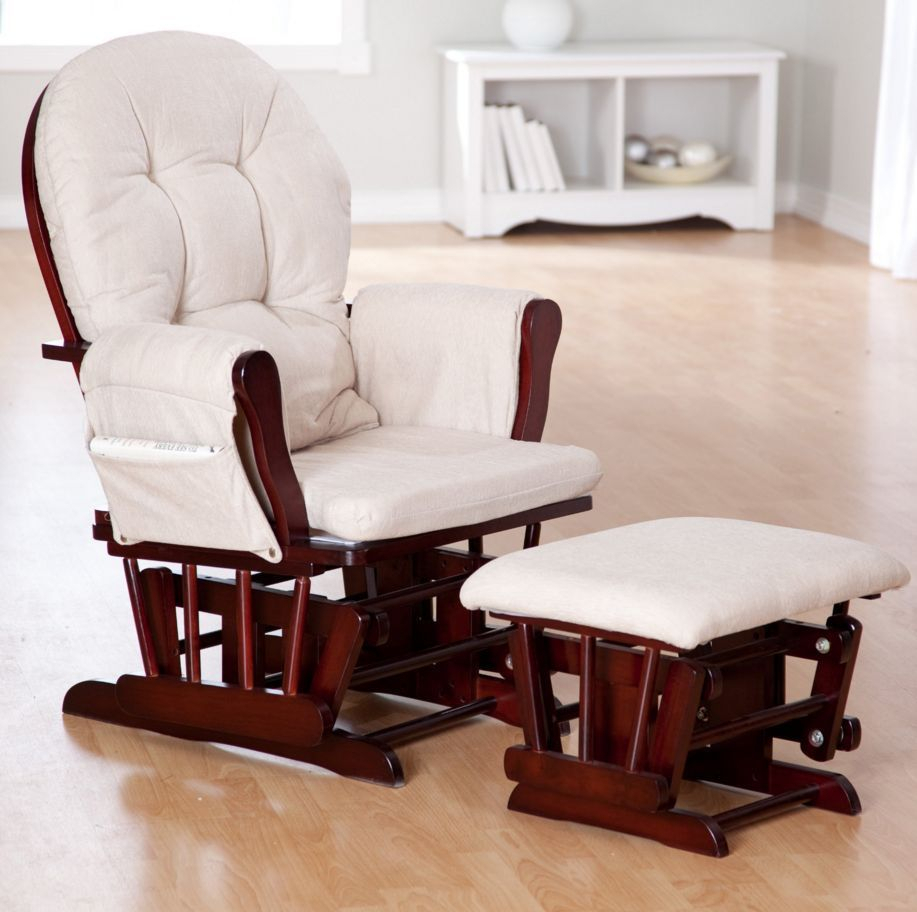Inspiration about Glider Rocker Chair Baby Furniture Rocking Ottoman Nursery Inside Beige Fabric And Cherry Wood Rocking Chairs (#4 of 20)