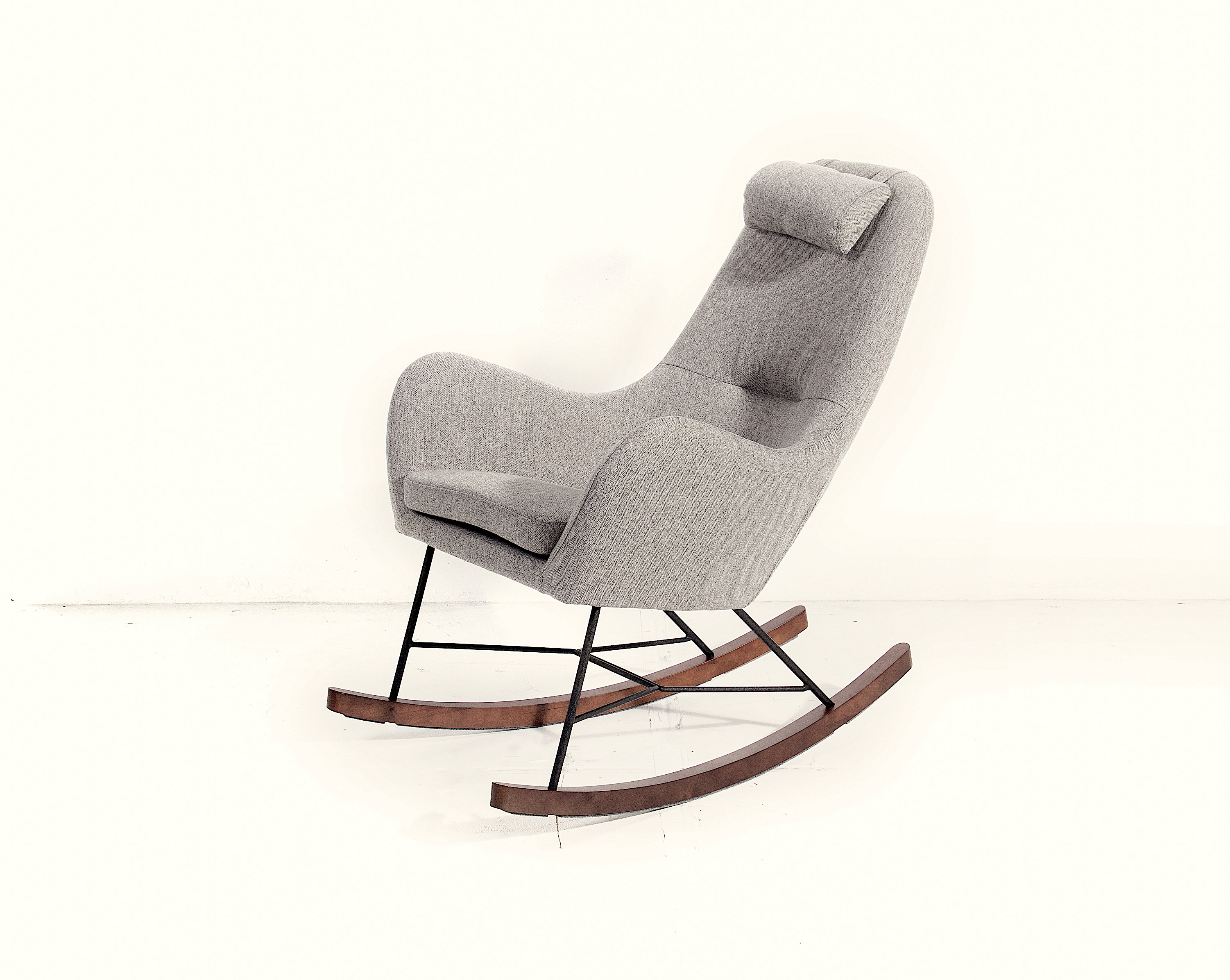 Inspiration about Gorlest Rocking Chair Throughout Twill Fabric Beige Rocking Chairs With Eiffel Legs (#18 of 20)