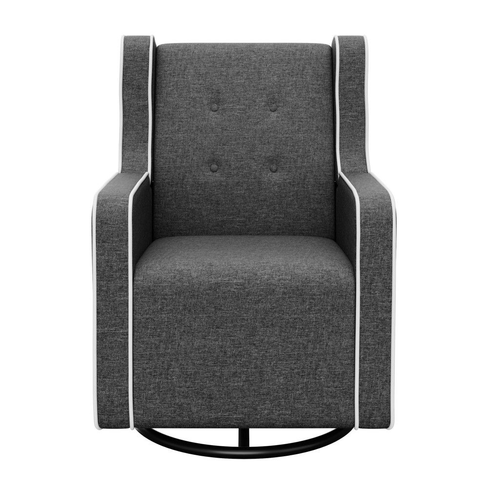 Graco Tufted Remi Upholstered Swivel Glider – Night Sky For Carbon Loft Ariel Rocking Chairs In Espresso Pu And Walnut (View 12 of 20)
