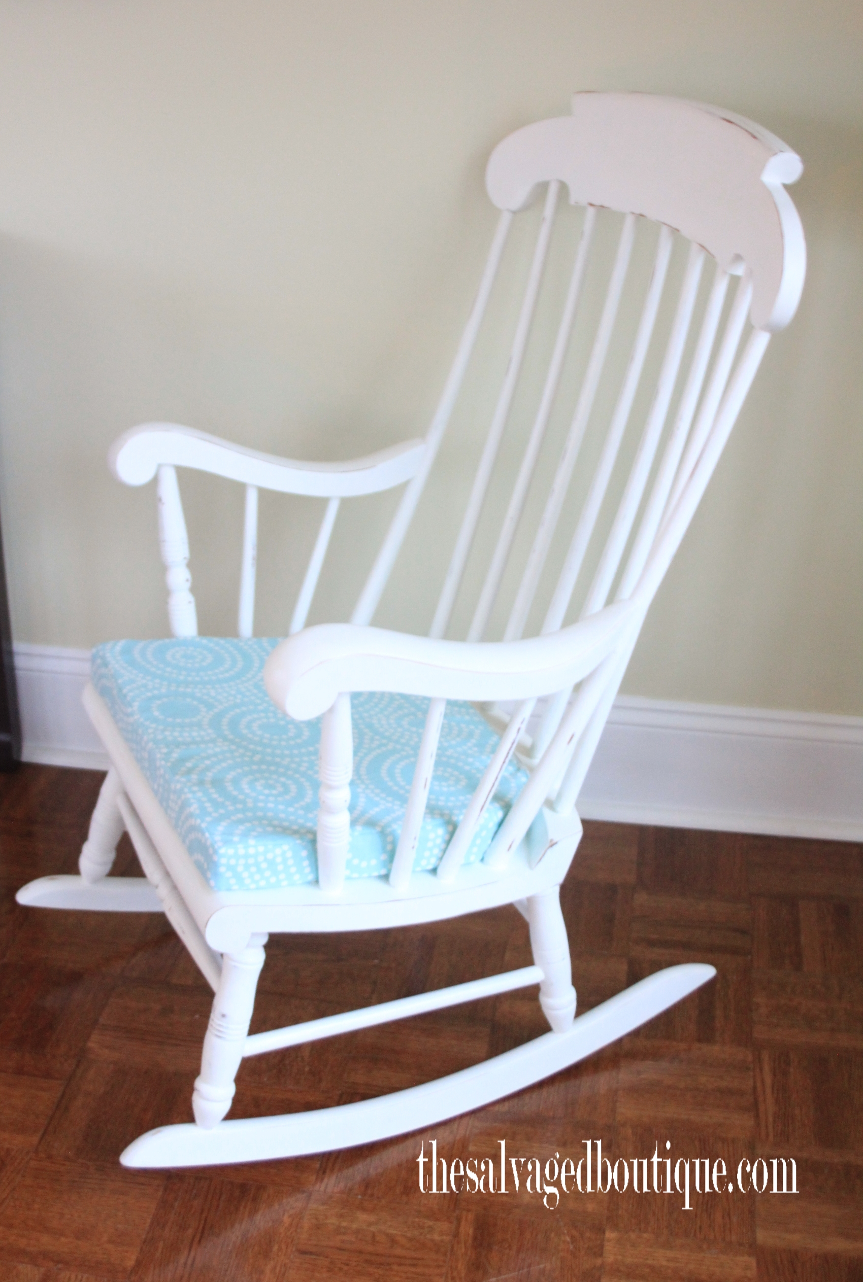 Inspiration about Grandpa's Rocking Chair Brightened Up For New Baby Nursery For Antique White Wooden Rocking Chairs (#19 of 20)