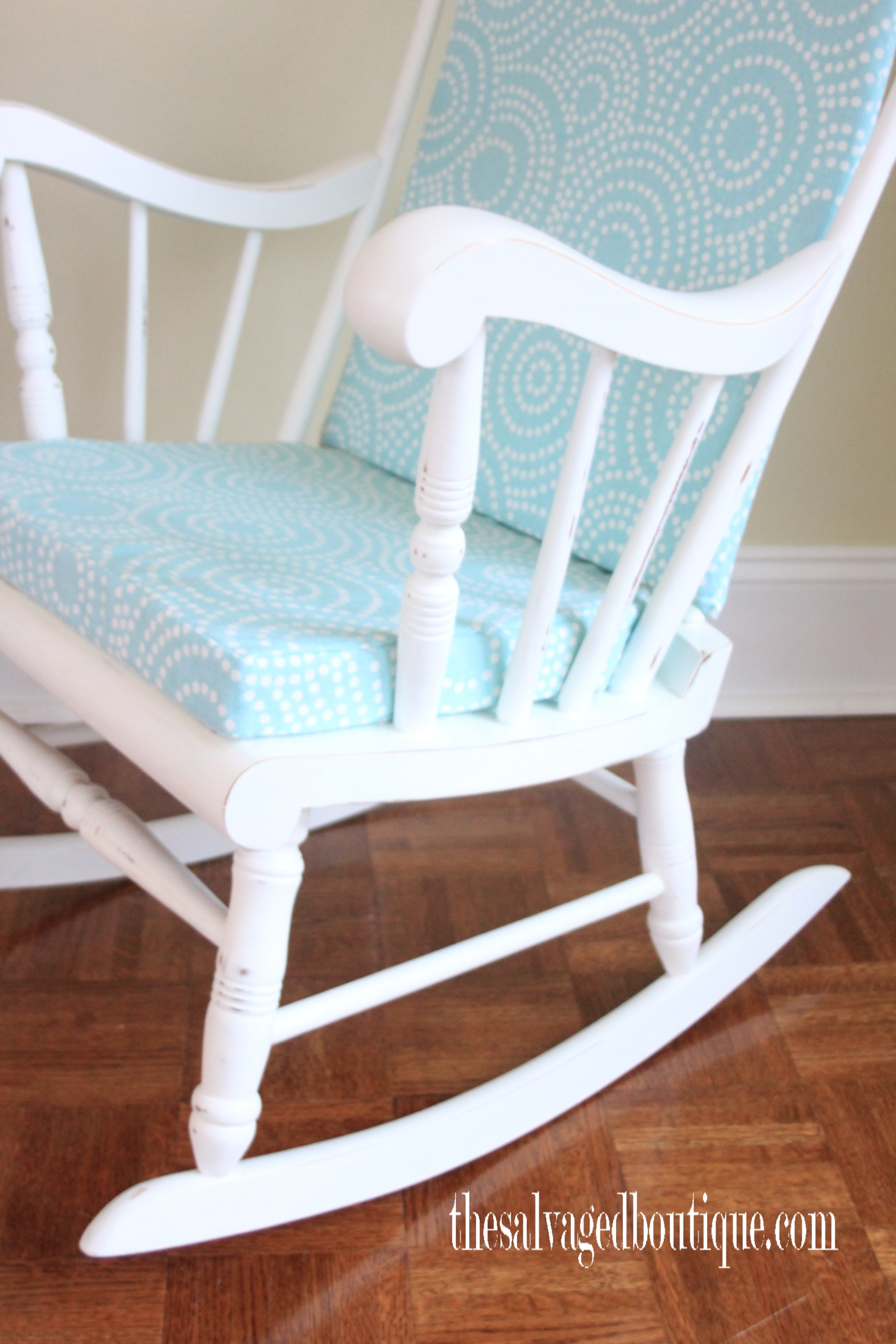 Inspiration about Grandpa's Rocking Chair Brightened Up For New Baby Nursery Throughout Wooden Baby Nursery Rocking Chairs (#20 of 20)