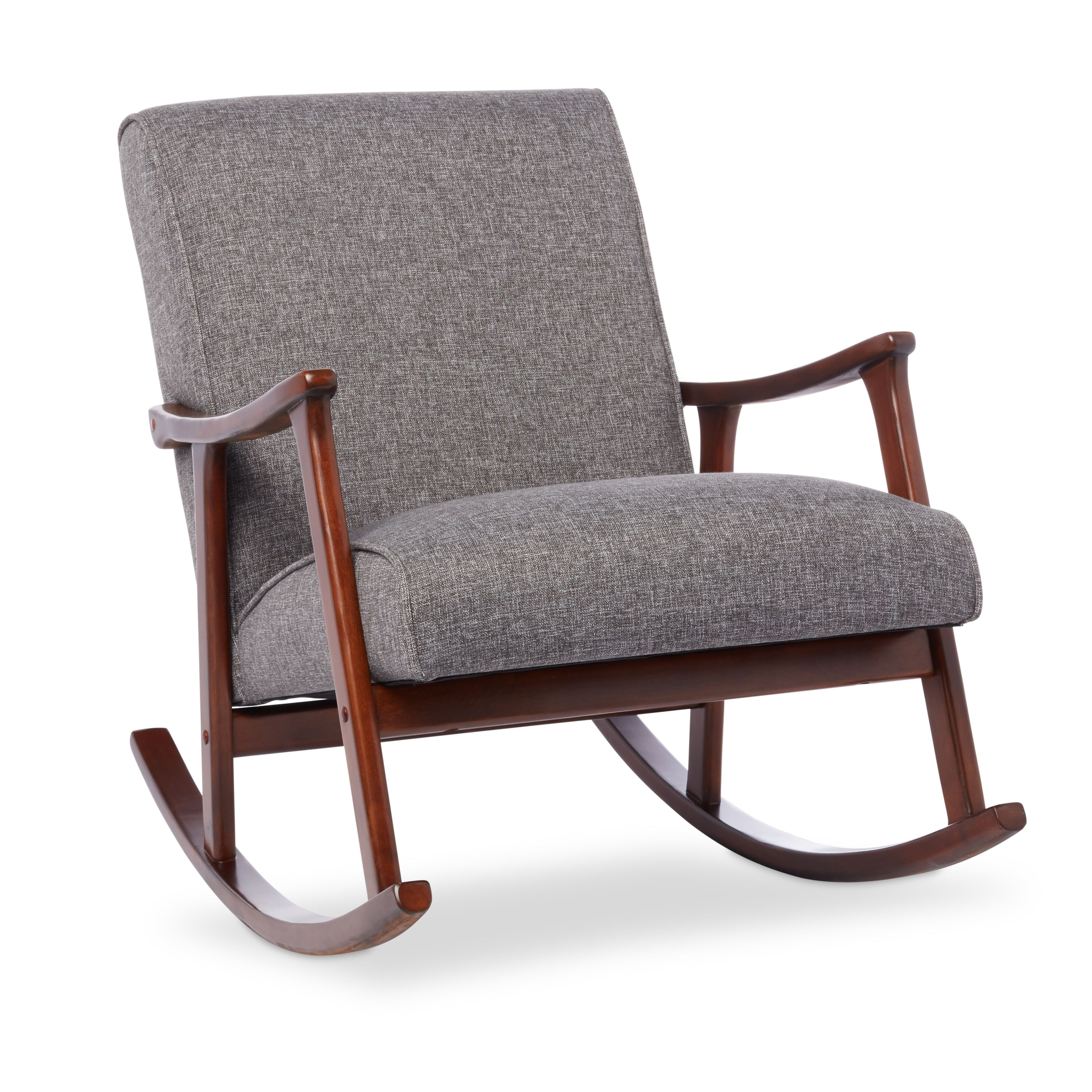 Inspiration about Granite Grey Fabric Mid Century Wooden Rocking Chair Throughout Granite Grey Fabric Mid Century Wooden Rocking Chairs (#6 of 20)