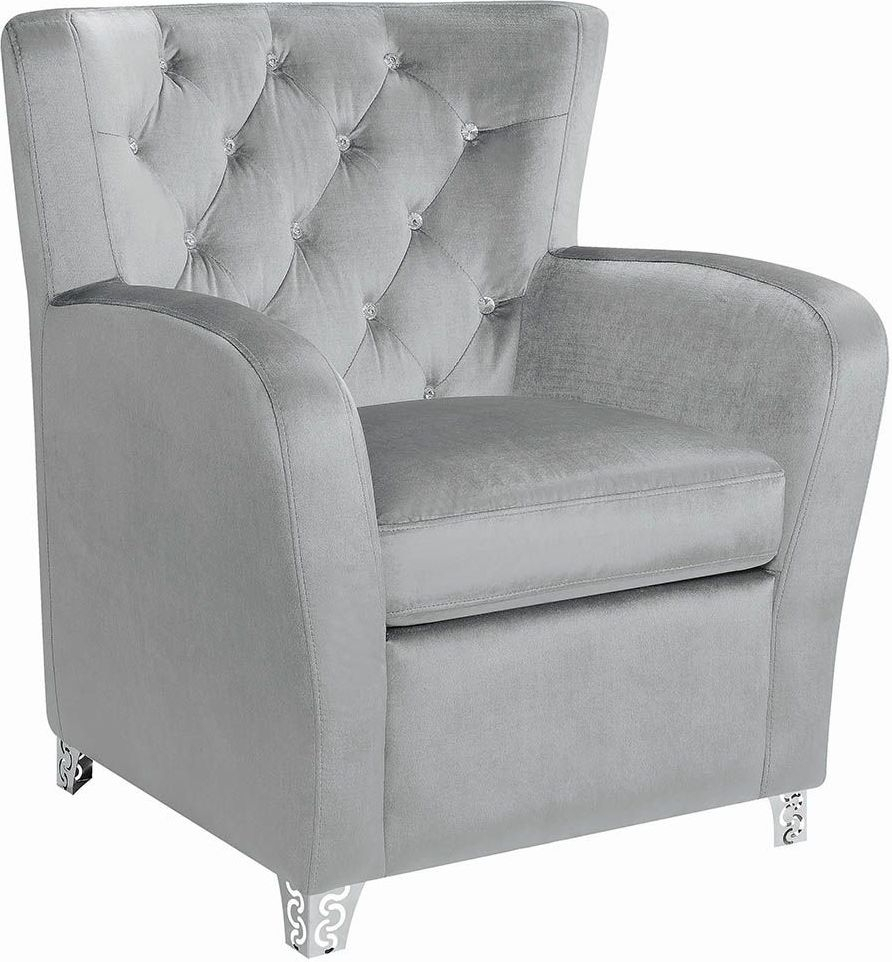 Inspiration about Gray Velvet Tufted Accent Chair Within Velvet Tufted Accent Chairs (#14 of 20)