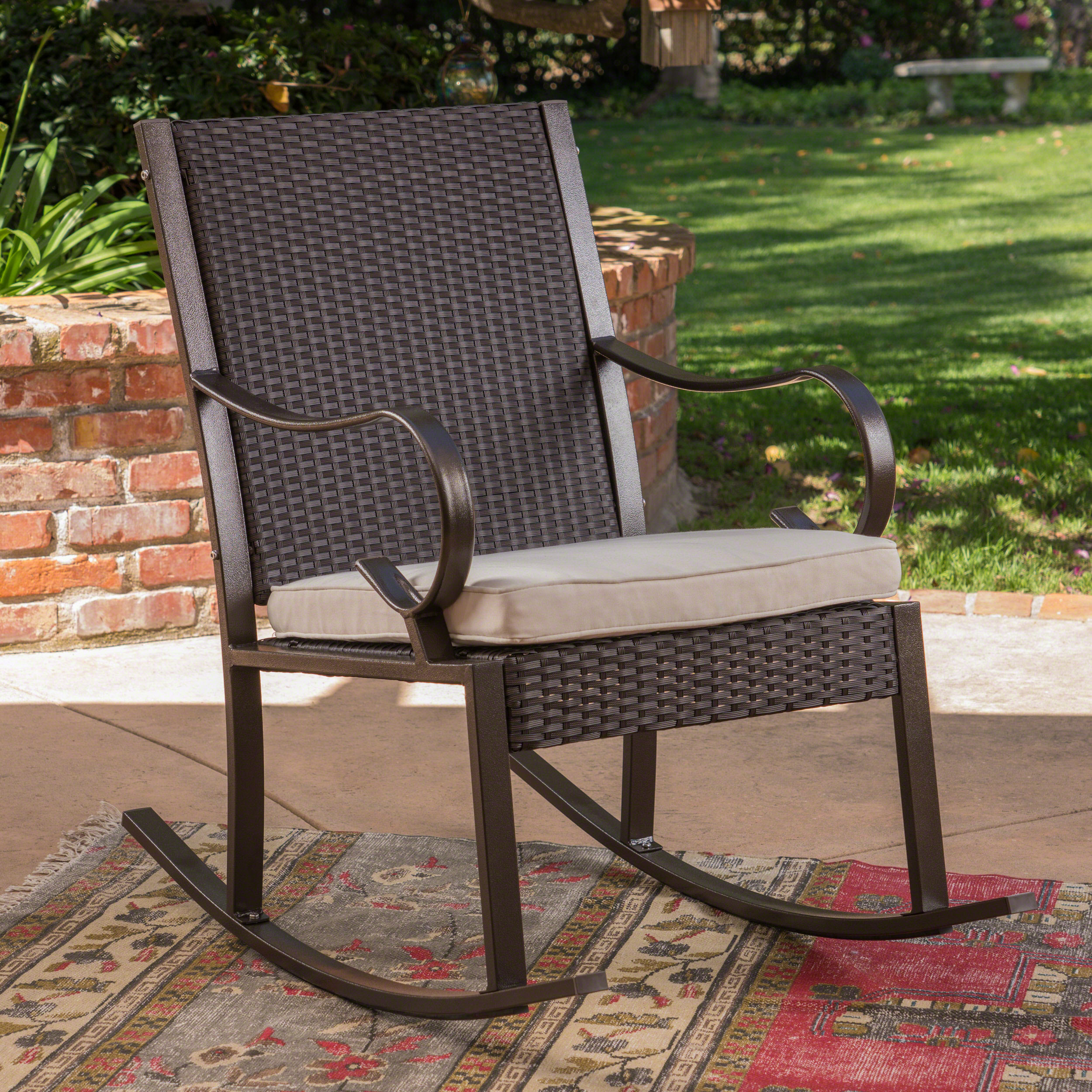 Hacienda Outdoor Wicker Rocking Chair With Cushion, Dark Brown And Cream Regarding Rocking Chairs, Cream And Brown (#7 of 20)