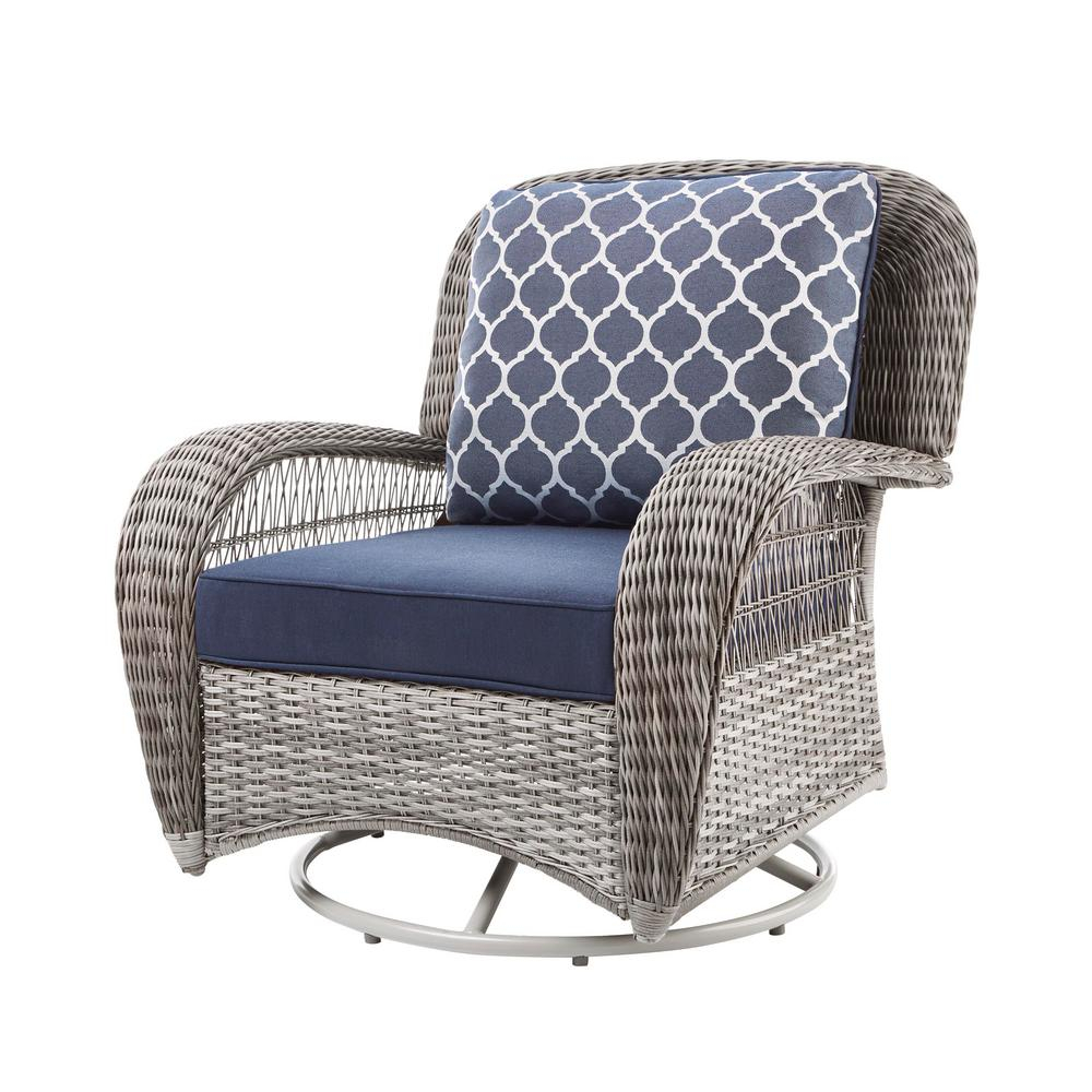 Hampton Bay Beacon Park Gray Wicker Outdoor Swivel Lounge Chair With  Midnight Cushions Intended For Rocking Chairs & Lounge Chairs In Grey (View 4 of 20)