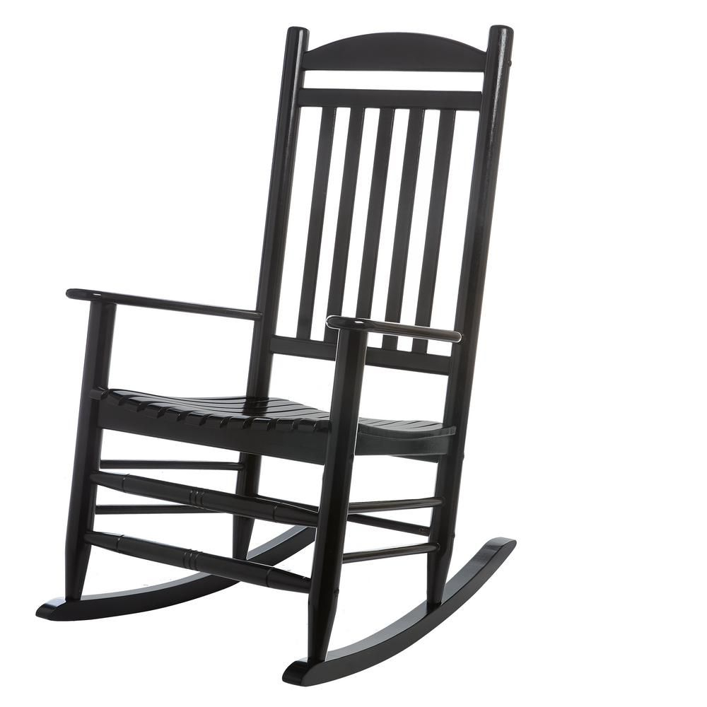 Hampton Bay Black Wood Outdoor Rocking Chair 2. (#9 of 20)