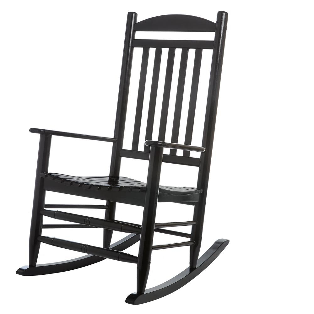 Hampton Bay Black Wood Outdoor Rocking Chair With Black Back Windsor Rocking Chairs (#9 of 20)