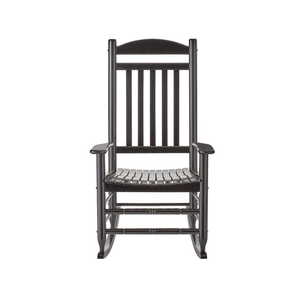 Hampton Bay Black Wood Outdoor Rocking Chair With Regard To Black Rubberwood Rocking Chairs (#4 of 20)