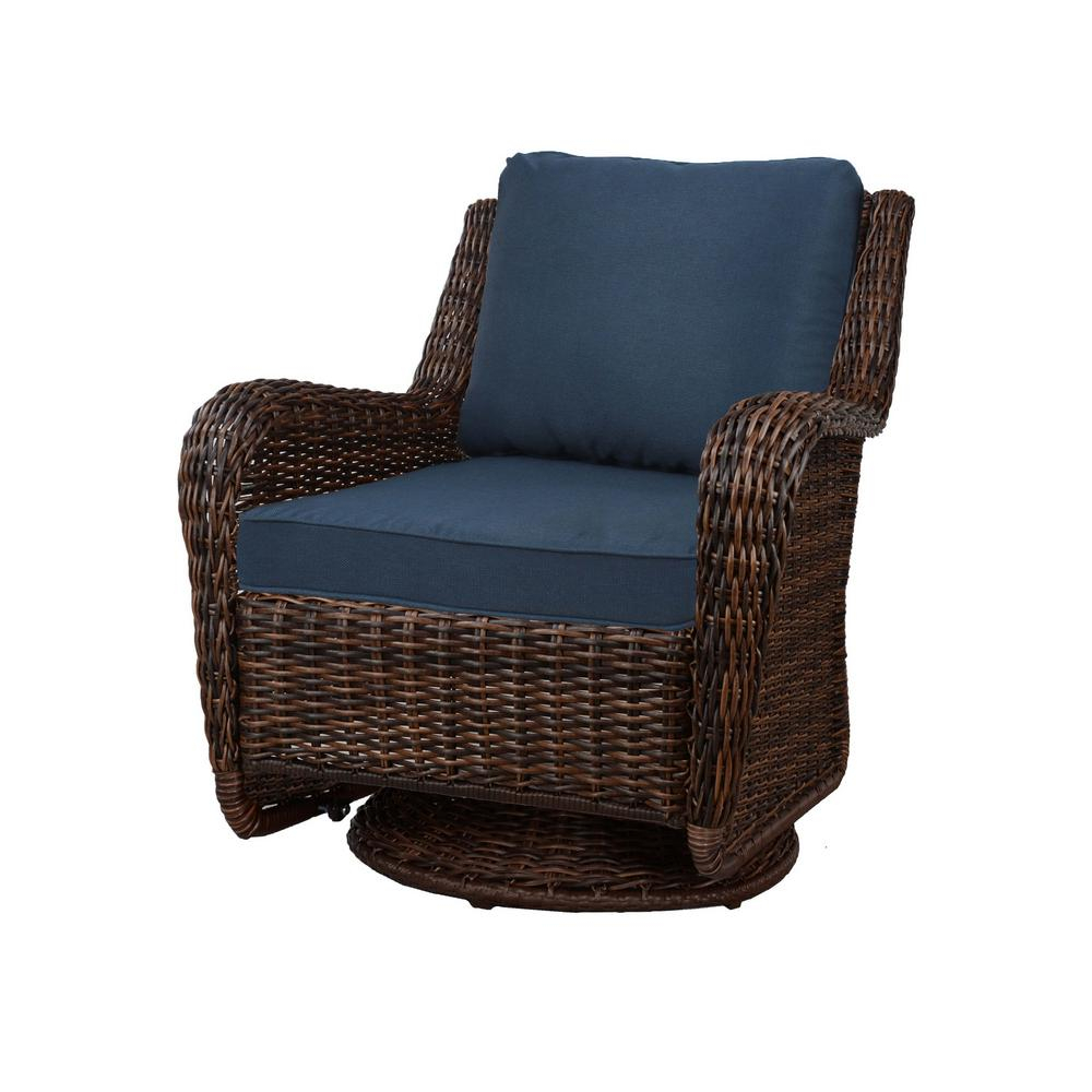 Hampton Bay Cambridge Brown Wicker Swivel Outdoor Rocking Chair With Blue  Cushions In Wooden Rocking Chairs With Fabric Upholstered Cushions, White (View 10 of 20)