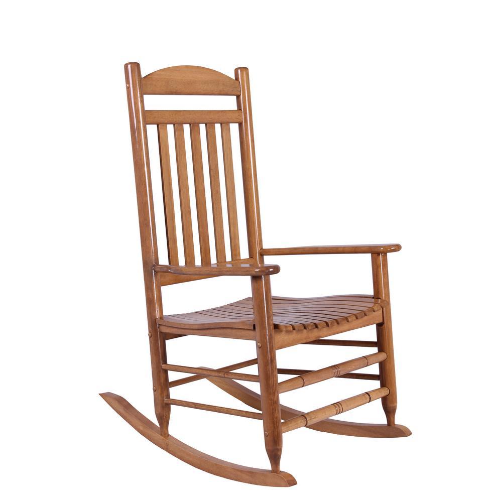 Hampton Bay Natural Wood Rocking Chair Regarding Natural Brown Wood Folding Rocking Chairs (#12 of 20)