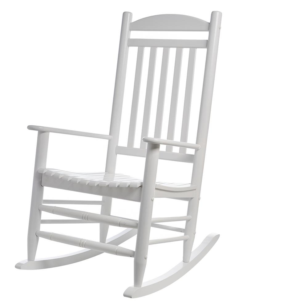 Hampton Bay White Wood Outdoor Rocking Chair Intended For Indoor / Outdoor Porch Slat Rocking Chairs (#10 of 20)