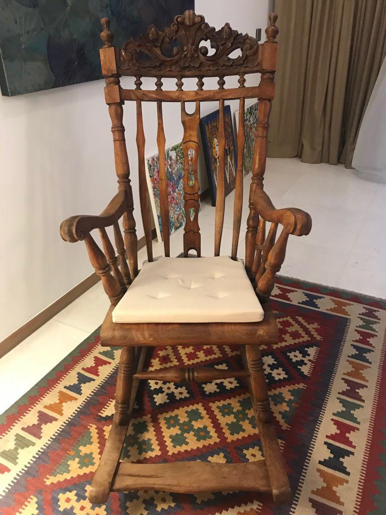 Hand Carved Teak Wood Rocking Chair, Furniture, Tables Regarding Bali Brown Rocking Chairs (View 14 of 20)