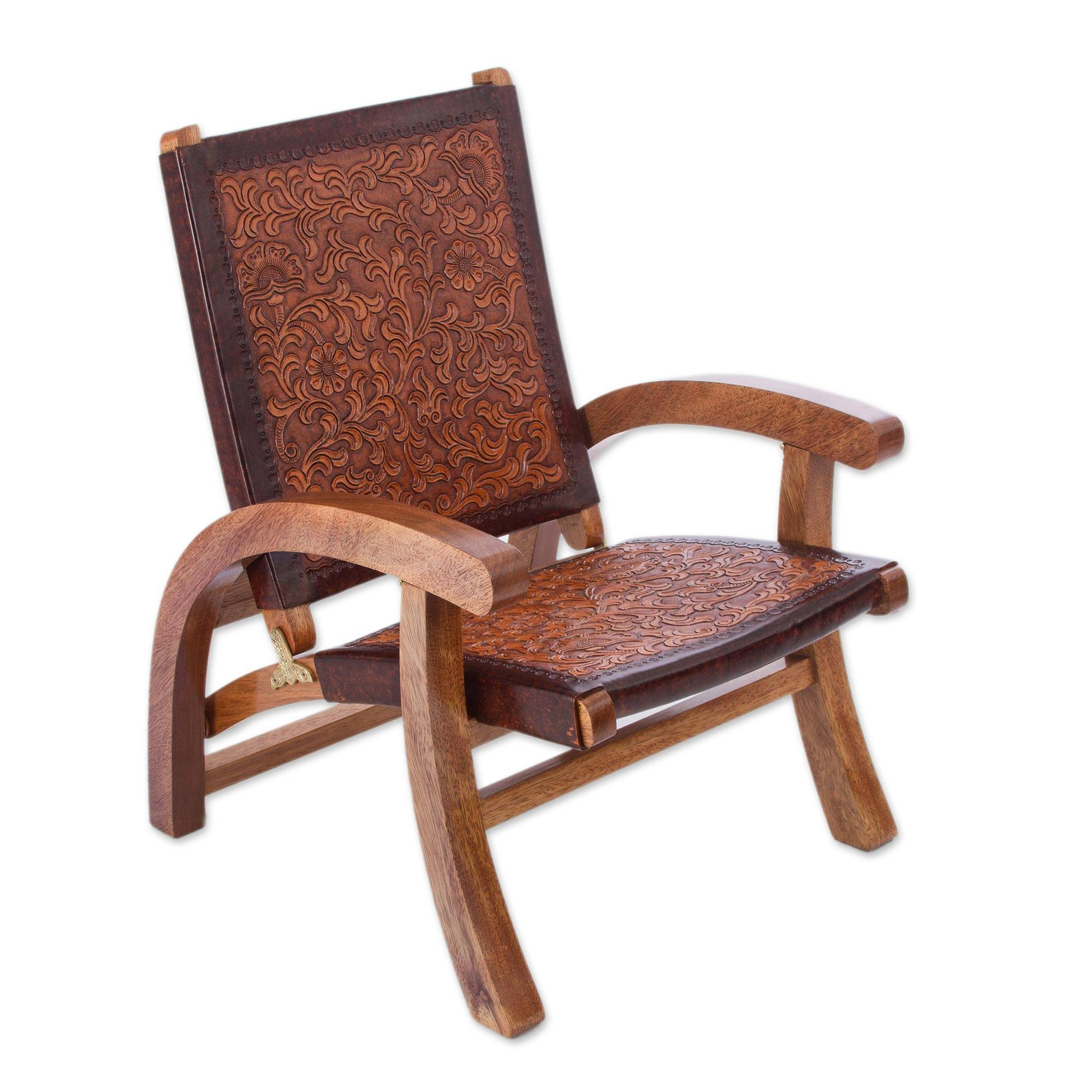 Inspiration about Handcrafted Colonial Leather Wood Chair, 'colonial Honey' With Wood And Leather Chavin Deities Rocking Chairs (#11 of 20)