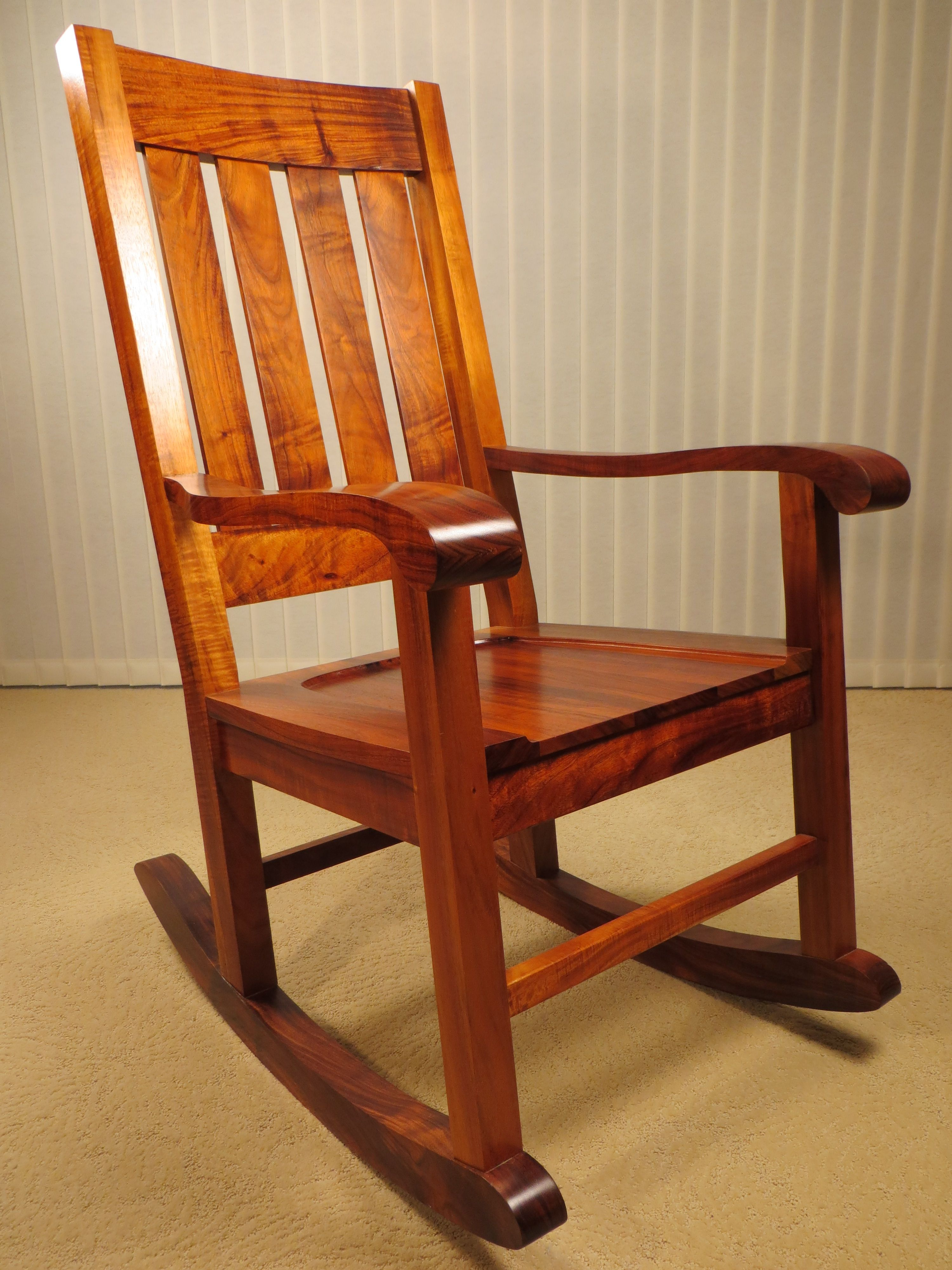 Handcrafted Koa Rocking Chair Made In Hilo, Hawaii (#4 of 20)