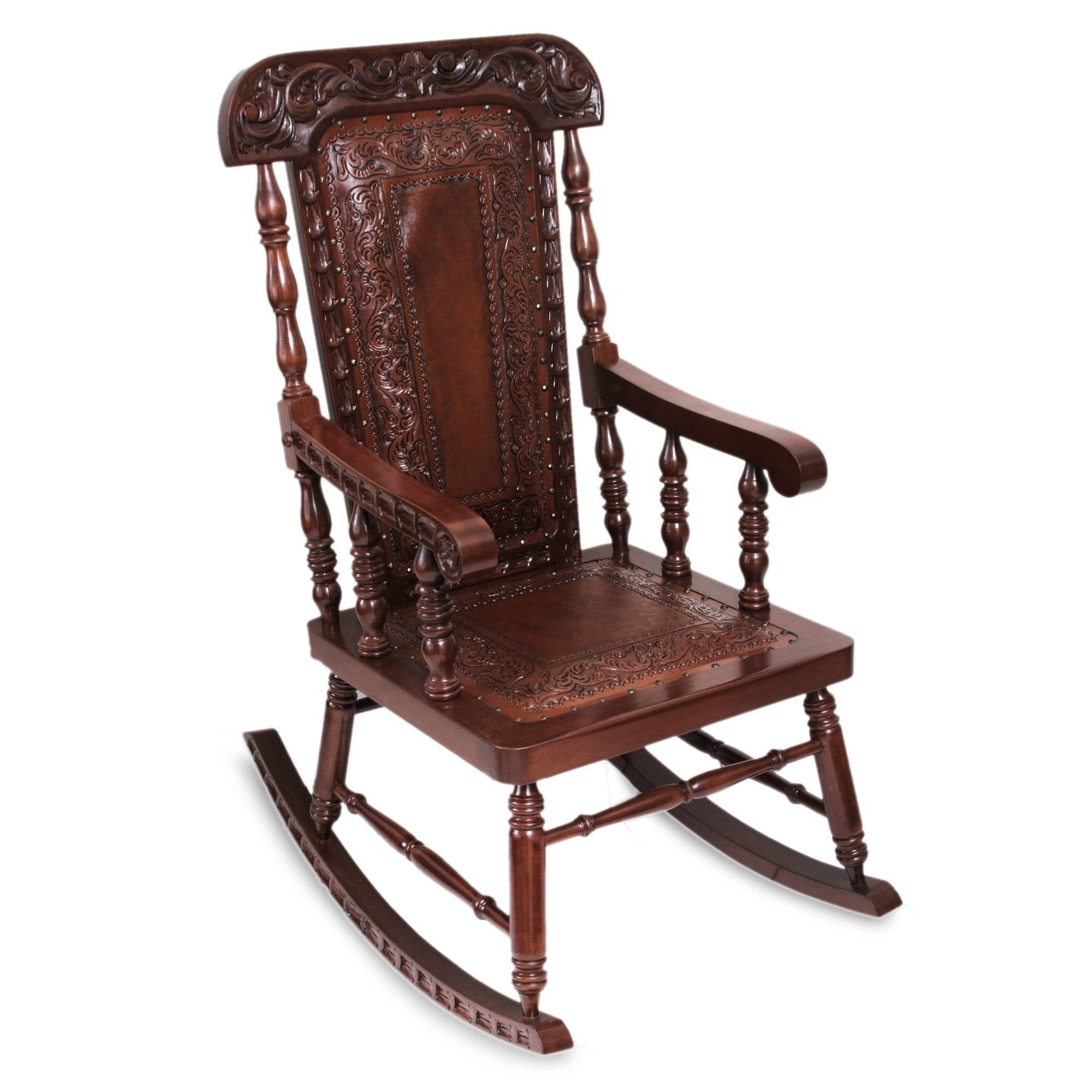 Handmade Nobility Cedar And Leather Rocking Chair (Peru) Pertaining To Dark Walnut Brown Wooden Rocking Chairs (#11 of 20)