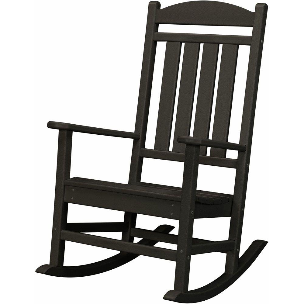 Hanover Black All Weather Pineapple Cay Patio Porch Rocker Within Traditional Style Wooden Rocking Chairs With Contoured Seat, Black (#10 of 20)